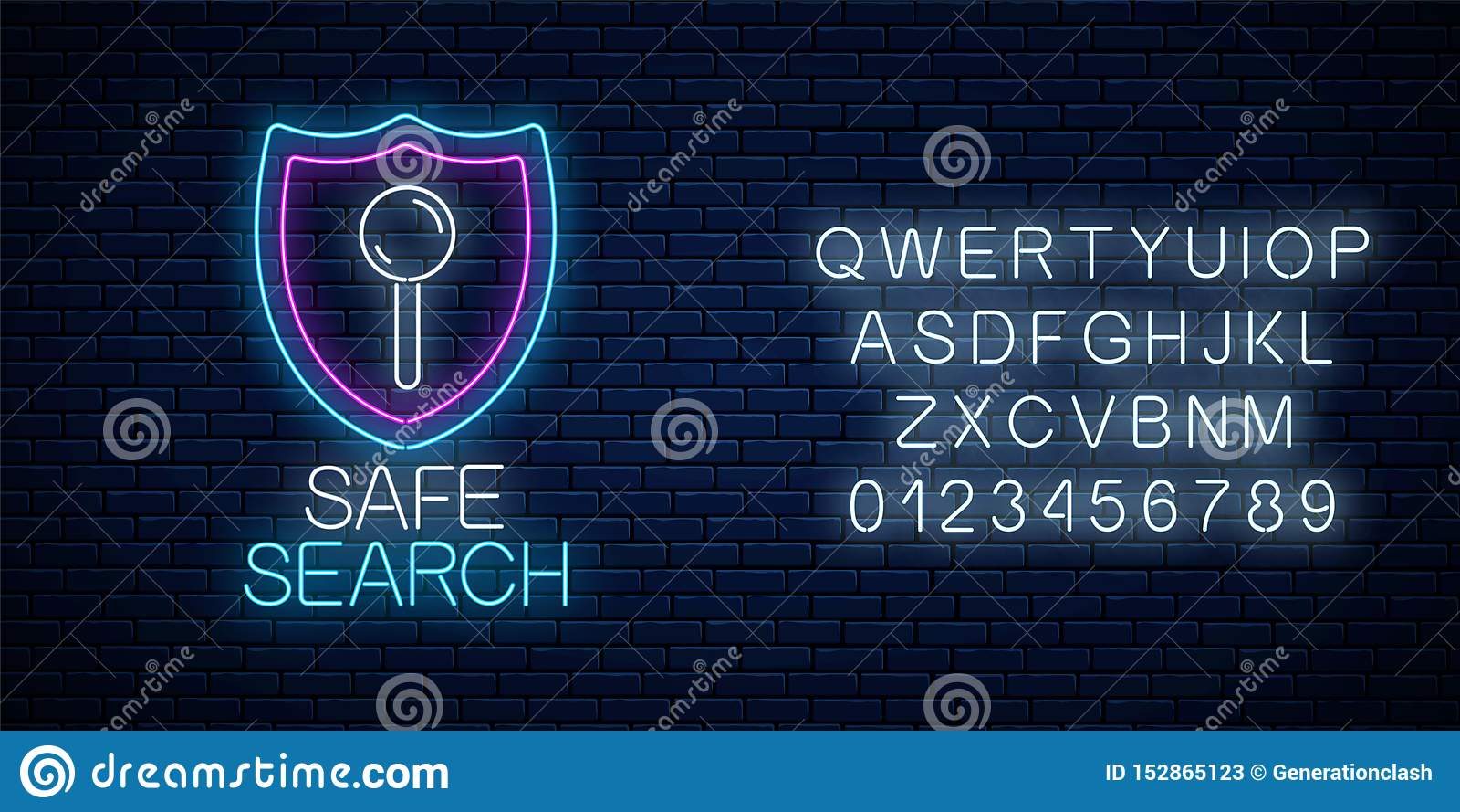 Het veilige teken van het de dienst gloeiende neon van het Webonderzoek met alfabet Internet-technologiesymbool met schild Vector