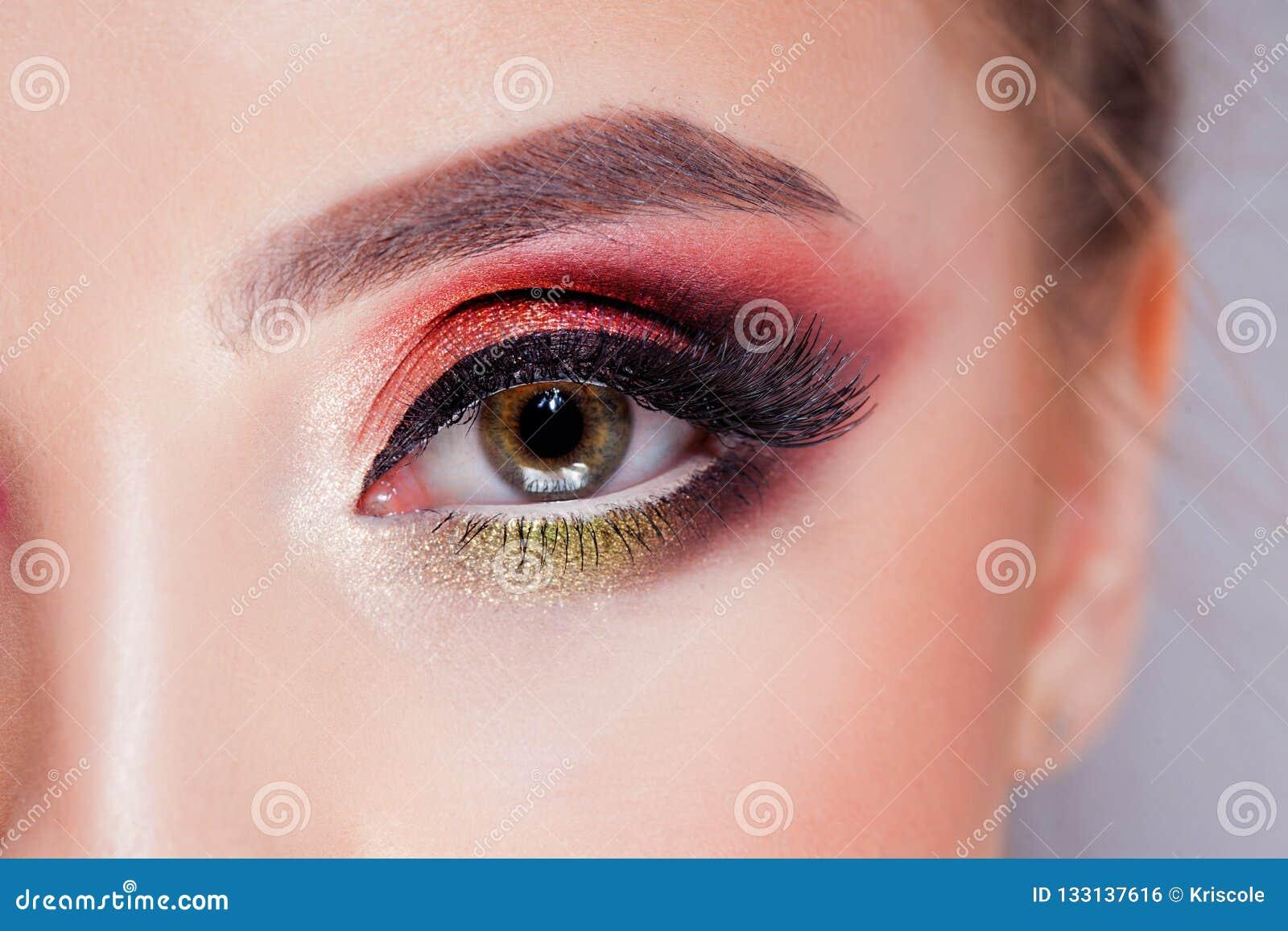 Het verbazen Heldere oogmake-up in luxueuze scharlaken schaduwen Roze en blauwe kleur, gekleurde oogschaduw
