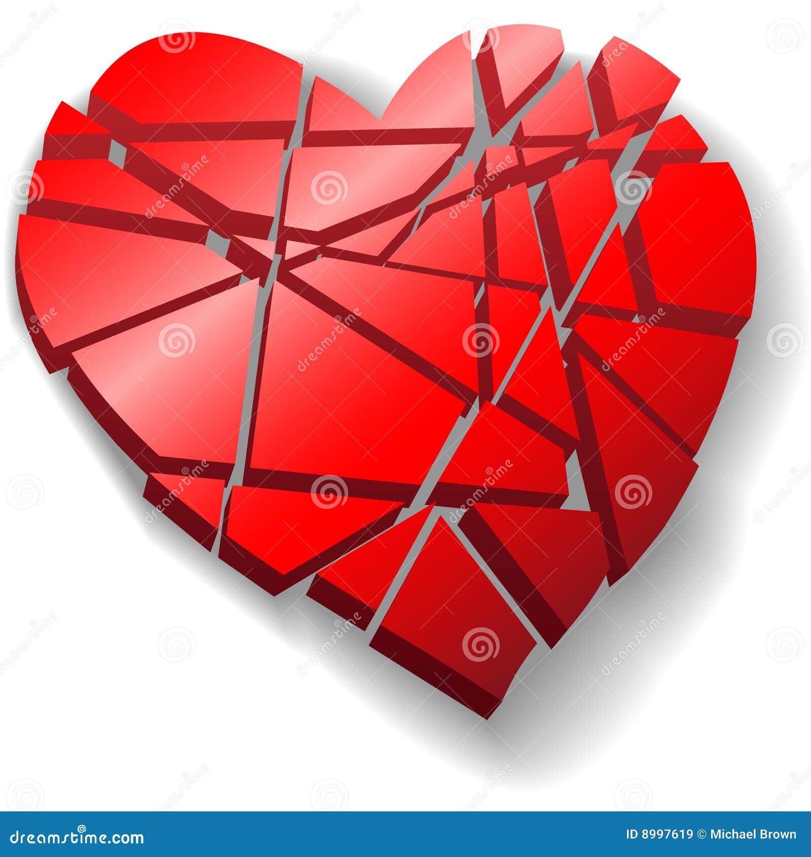 Het verbrijzelde rode hart van de Valentijnskaart dat aan stukken wordt gebroken