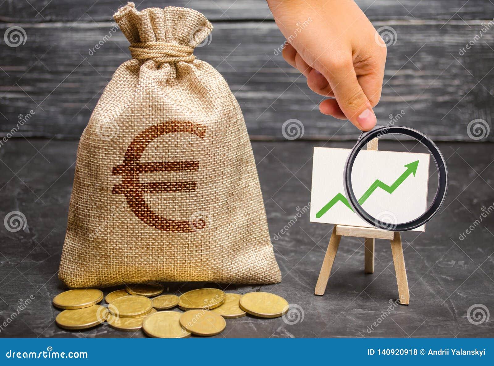 Het vergrootglas bekijkt een zak met euro geld en groene pijl omhoog op de grafiek Het concept stijgende winsten