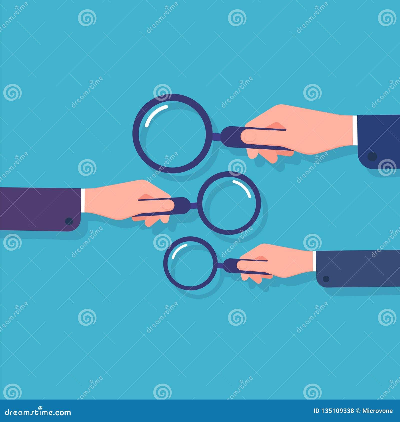 Het Vergrootglas van de Holding van handen Informatie het zoeken, bedrijfsgegevensonderzoek en detective Beeldverhaal vectorconce