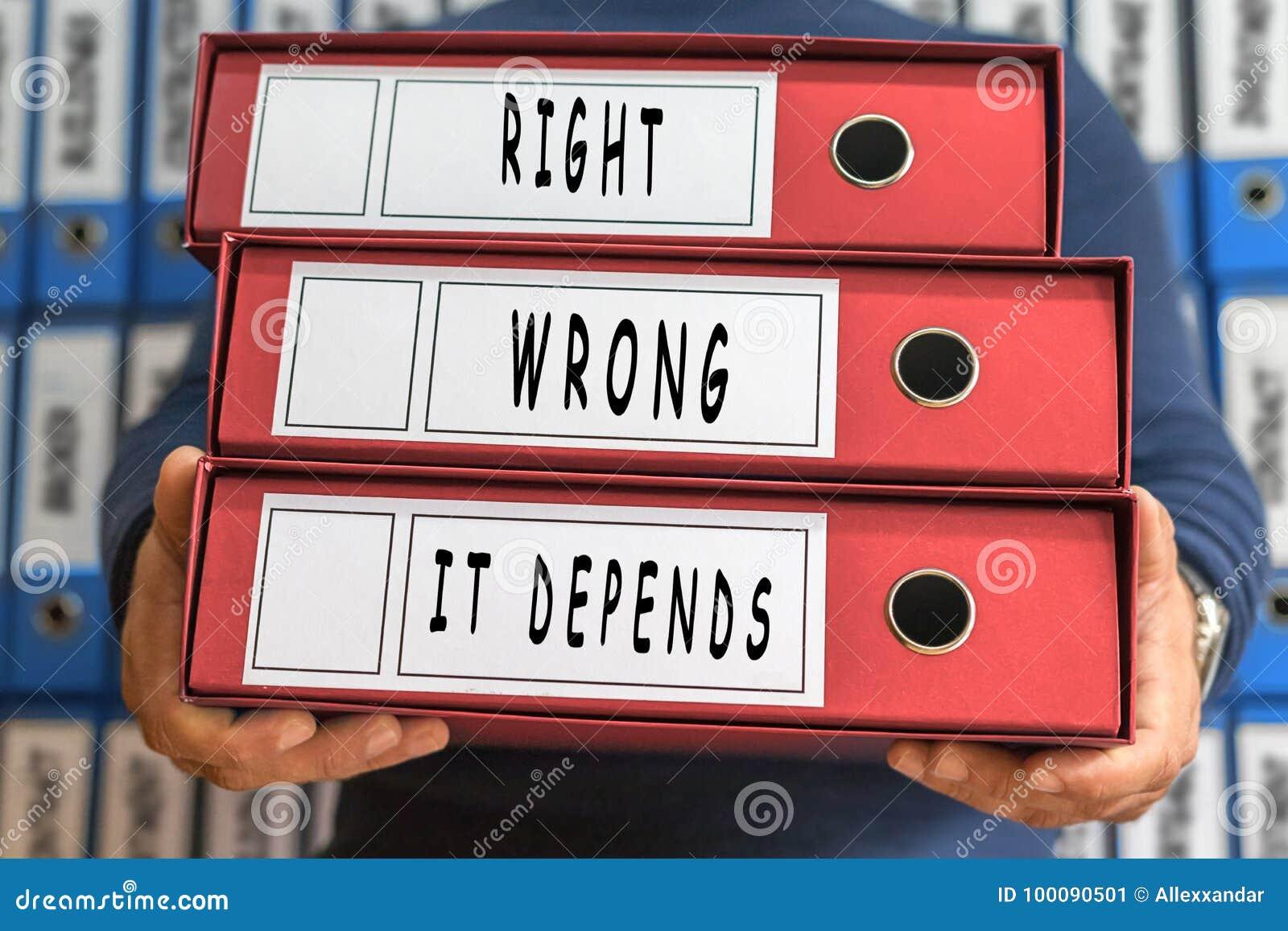 Het Verkeerde recht, het hangt, conceptenwoorden af Het Concept van de omslag Ringsbi