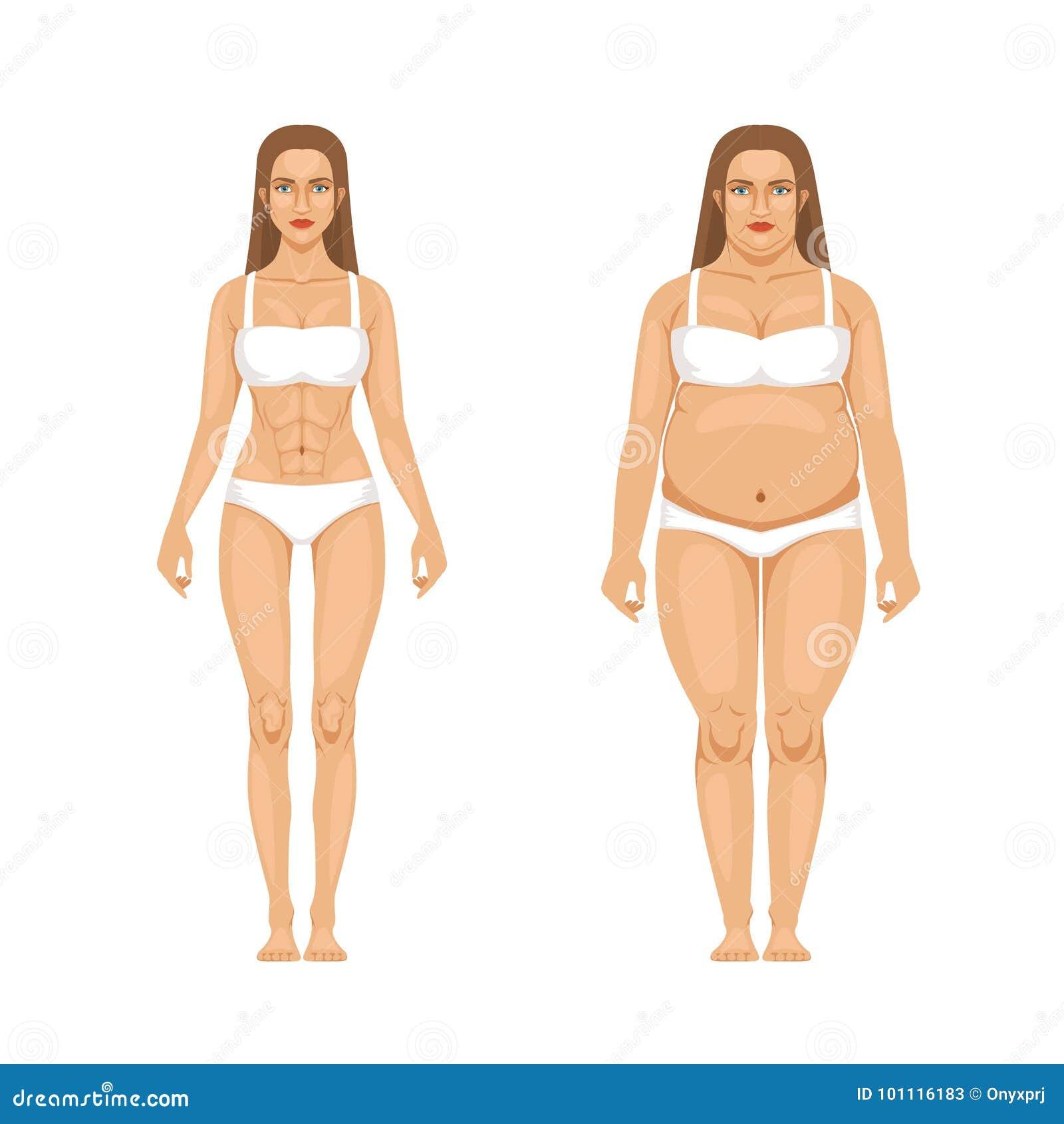 Het verlies van het vrouwengewicht met sport en dieet Vectorillustraties in beeldverhaalstijl