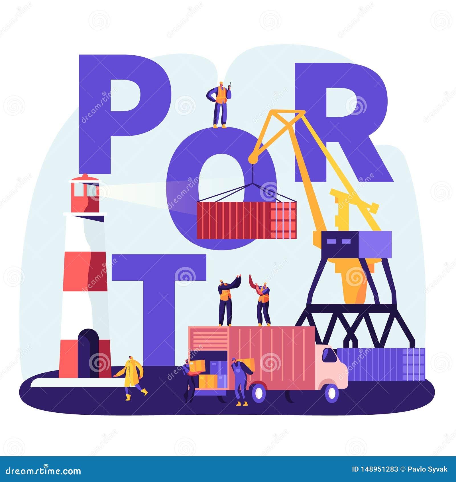 Het verschepen Havenconcept Haven Crane Loading Containers, Zeehavenarbeiders Carry Boxes van Vrachtwagen in Dokken dichtbij Vuur