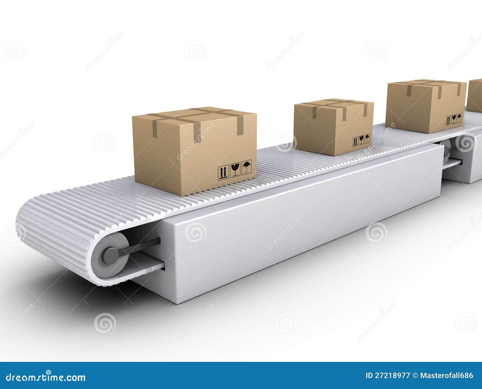 Het verschepen van dozen op transportband