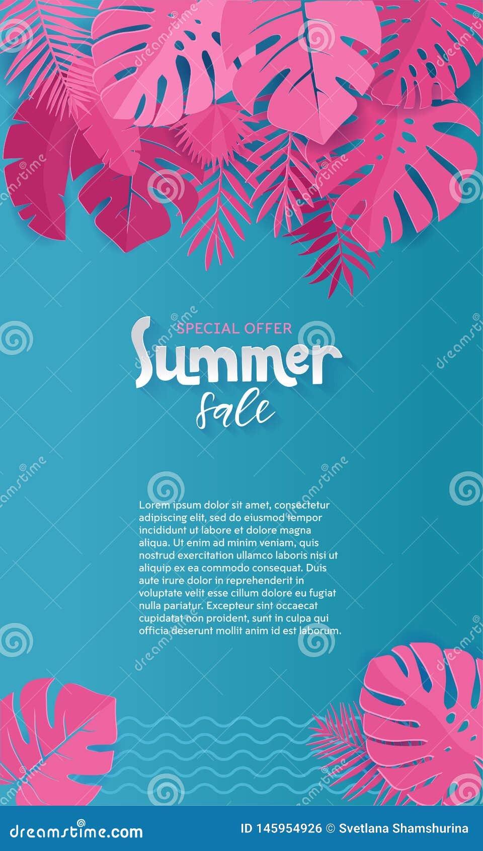 Het verticale document van de de Zomerverkoop sneed Achtergrond met Palm, monstera, banaan roze Bladeren met plaats voor uw tekst