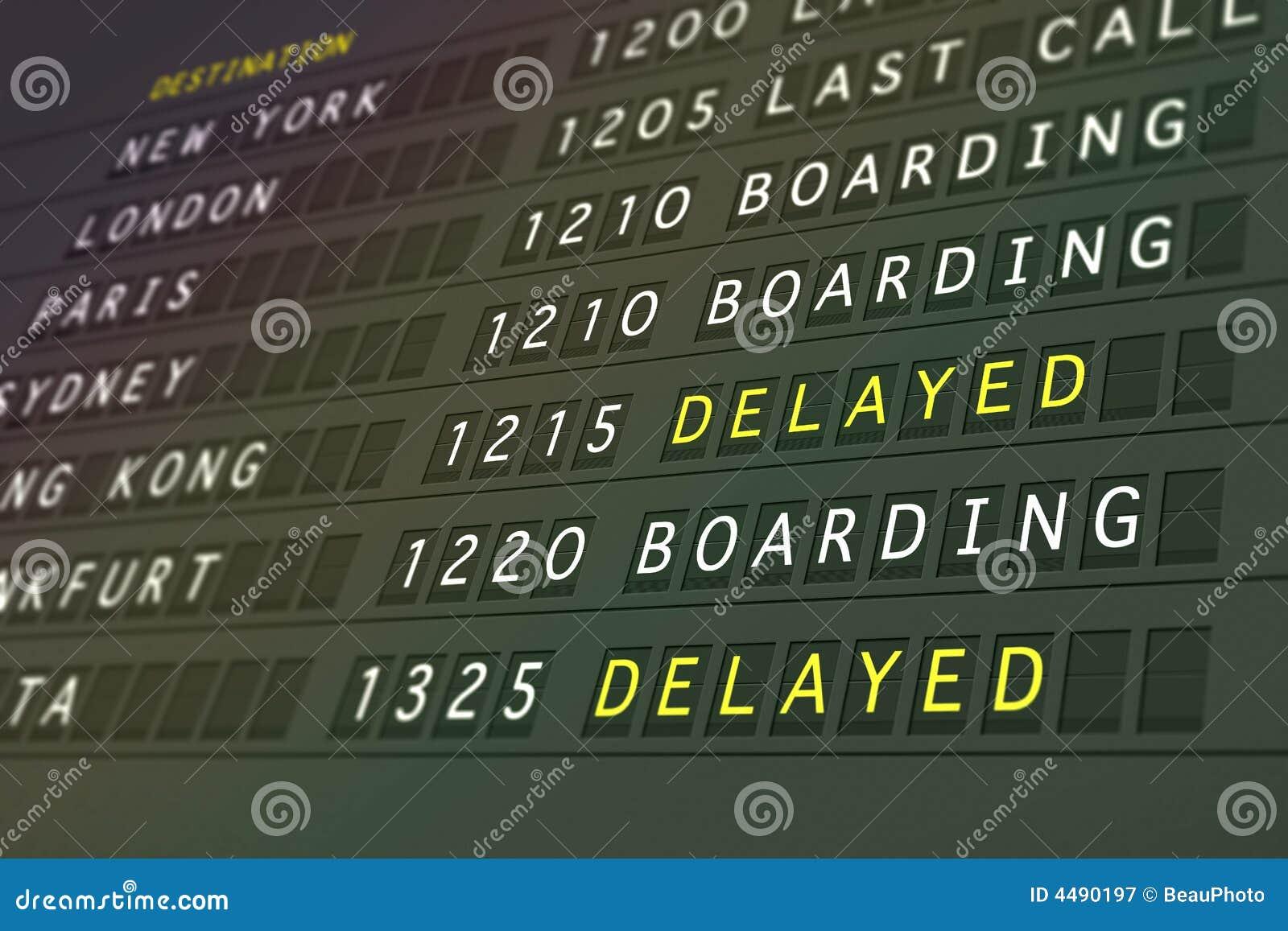 Het vertraagde vertrek van de vlucht -