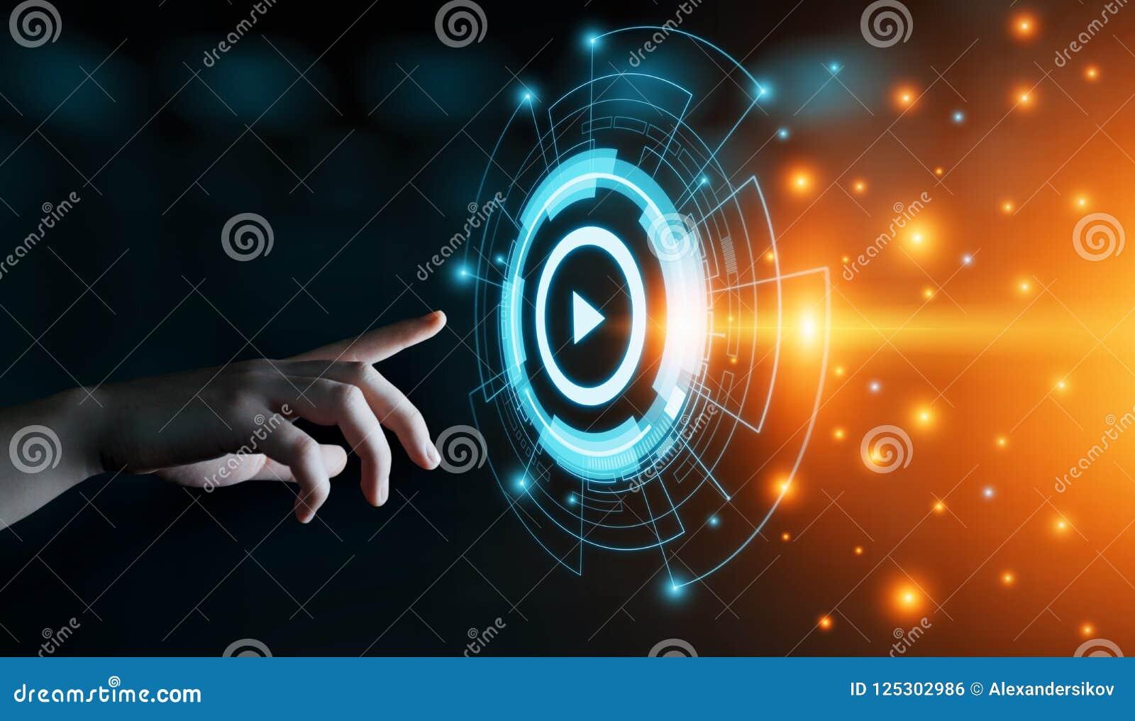 Het video Marketing Concept Reclame van de het Commerciële Netwerktechnologie van Internet