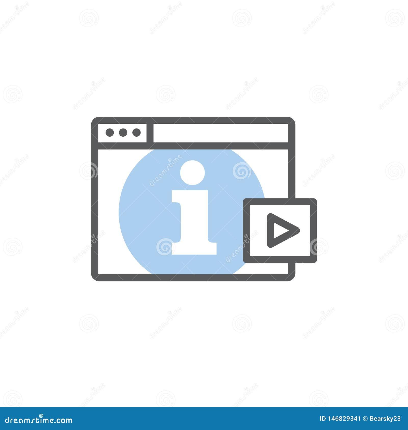 Het videoonderwijs en opleiding - informatie videopictogram/videoknoop