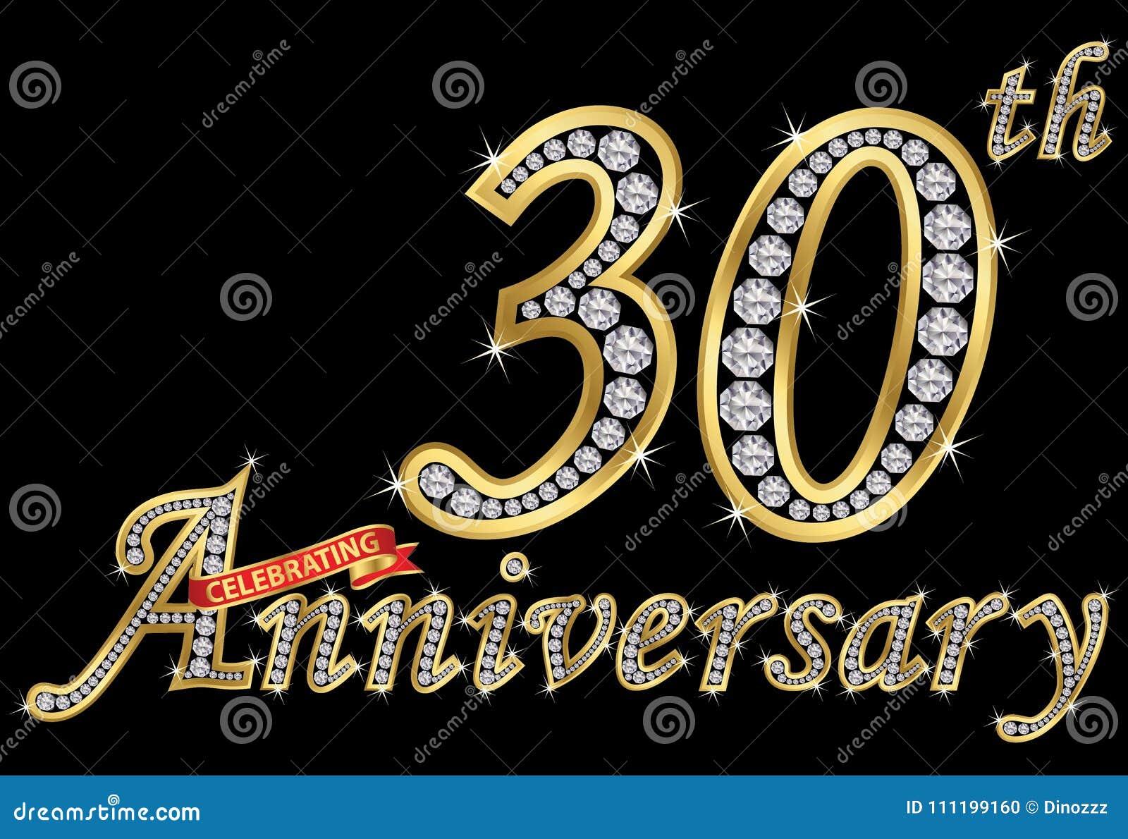 Het vieren van 30ste verjaardags gouden teken met diamanten, vector