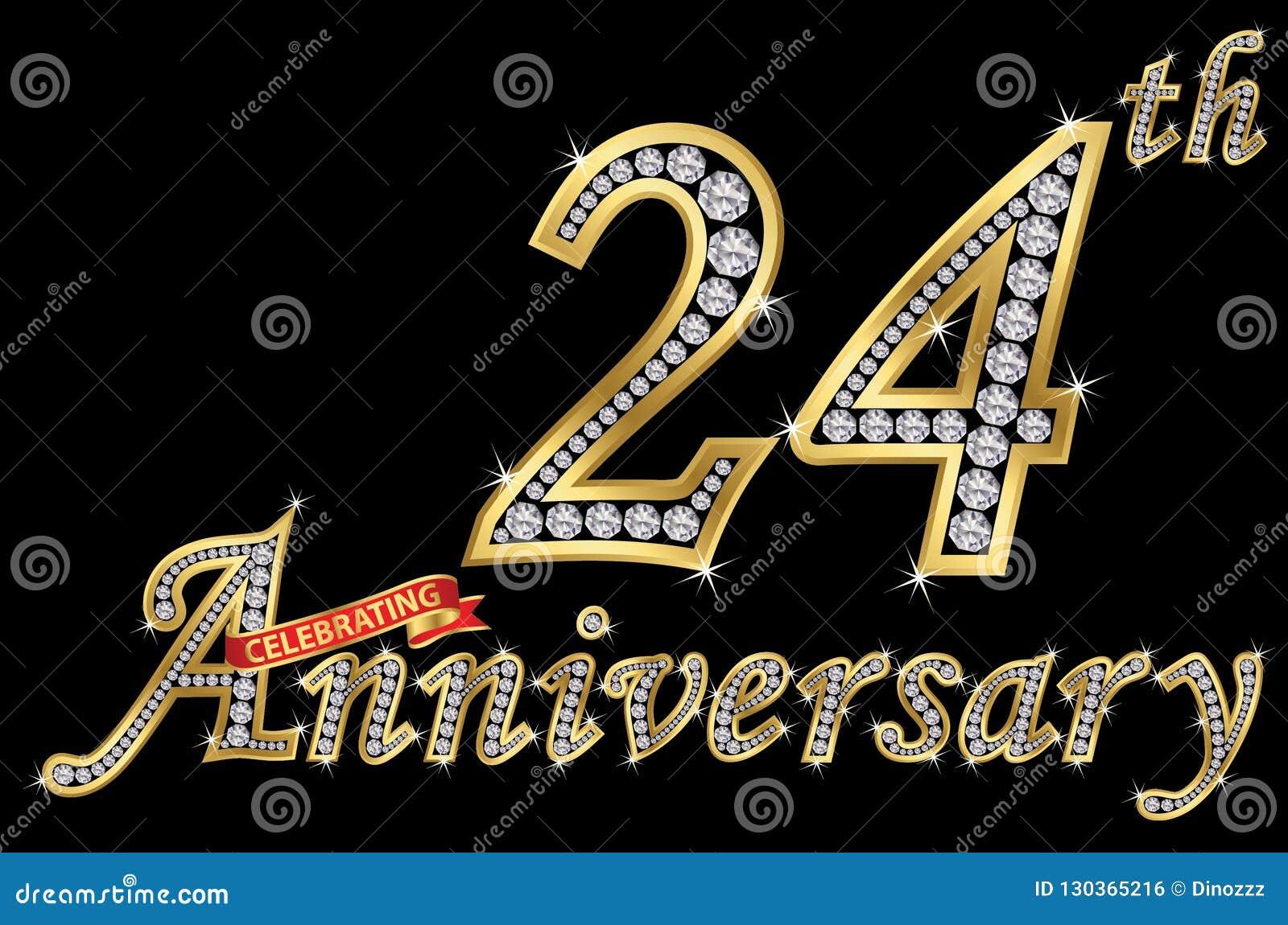 Het vieren van 24ste verjaardags gouden teken met diamanten, vector
