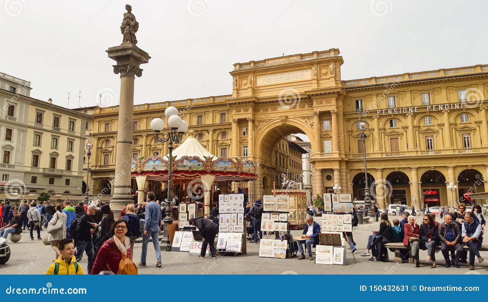 Het Vierkant van de republiek in Florence