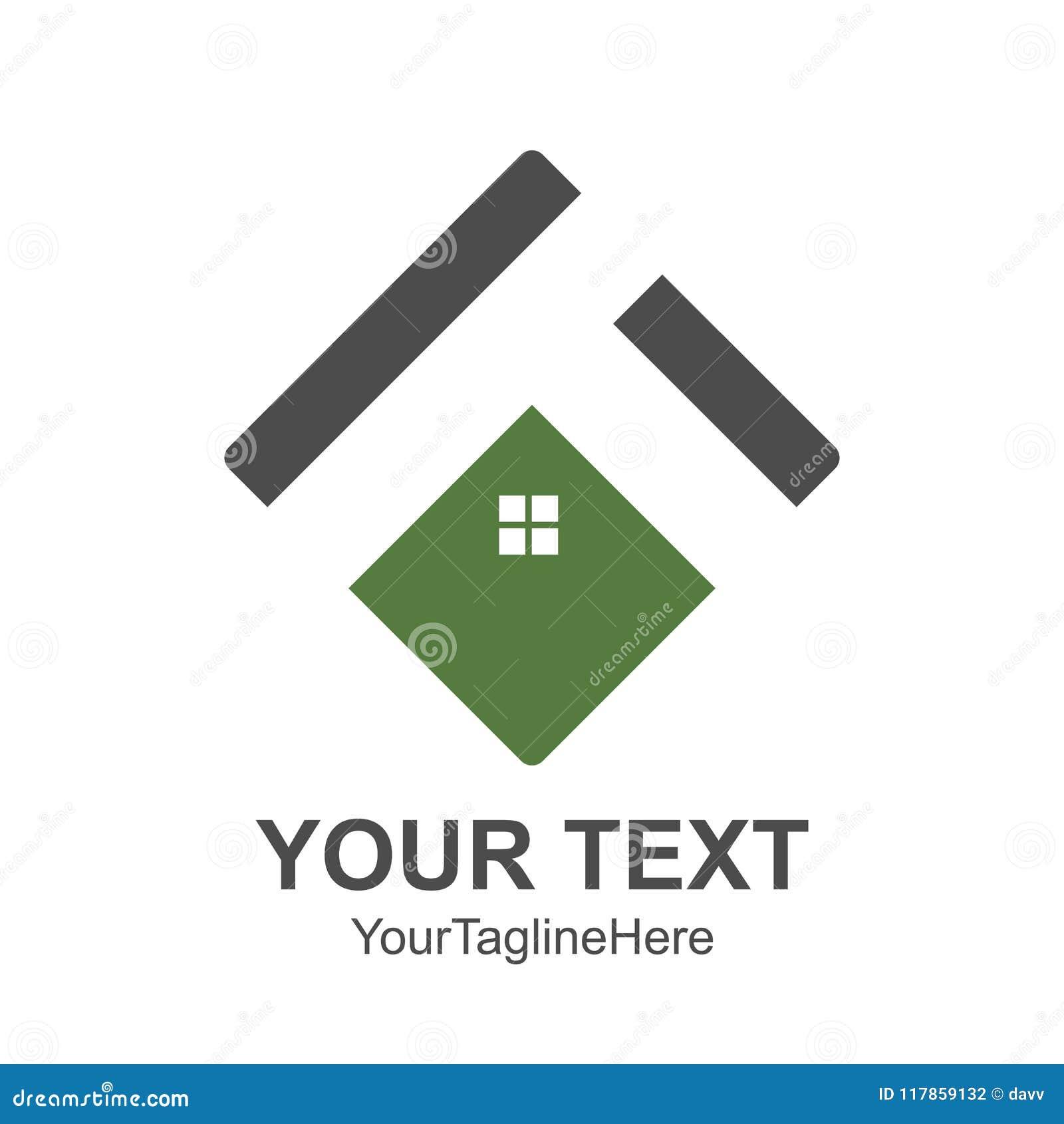 Het vierkante Huisdak en het vectorelement van het huisembleem kleurden groene gre