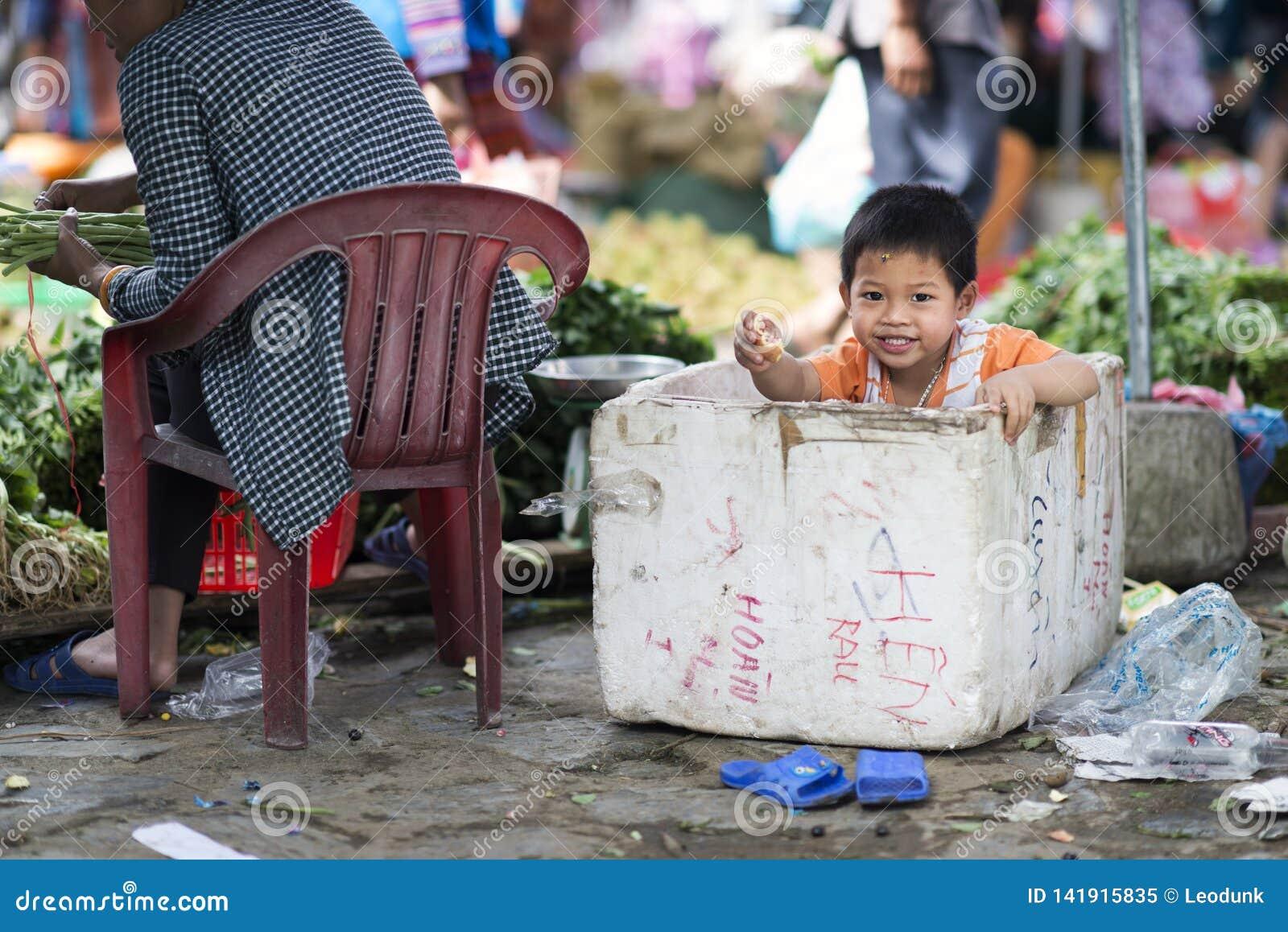 Het Vietnamese jong geitje spelen in een polystyreendoos in Bac Ha Market, Lao Cai, Sapa, Vietnam