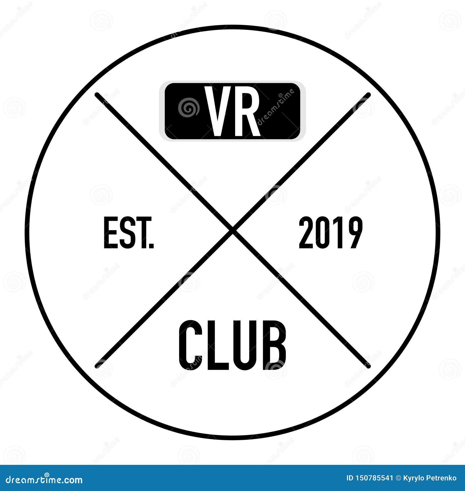 Het virtuele embleem van de werkelijkheidsclub op witte achtergrond
