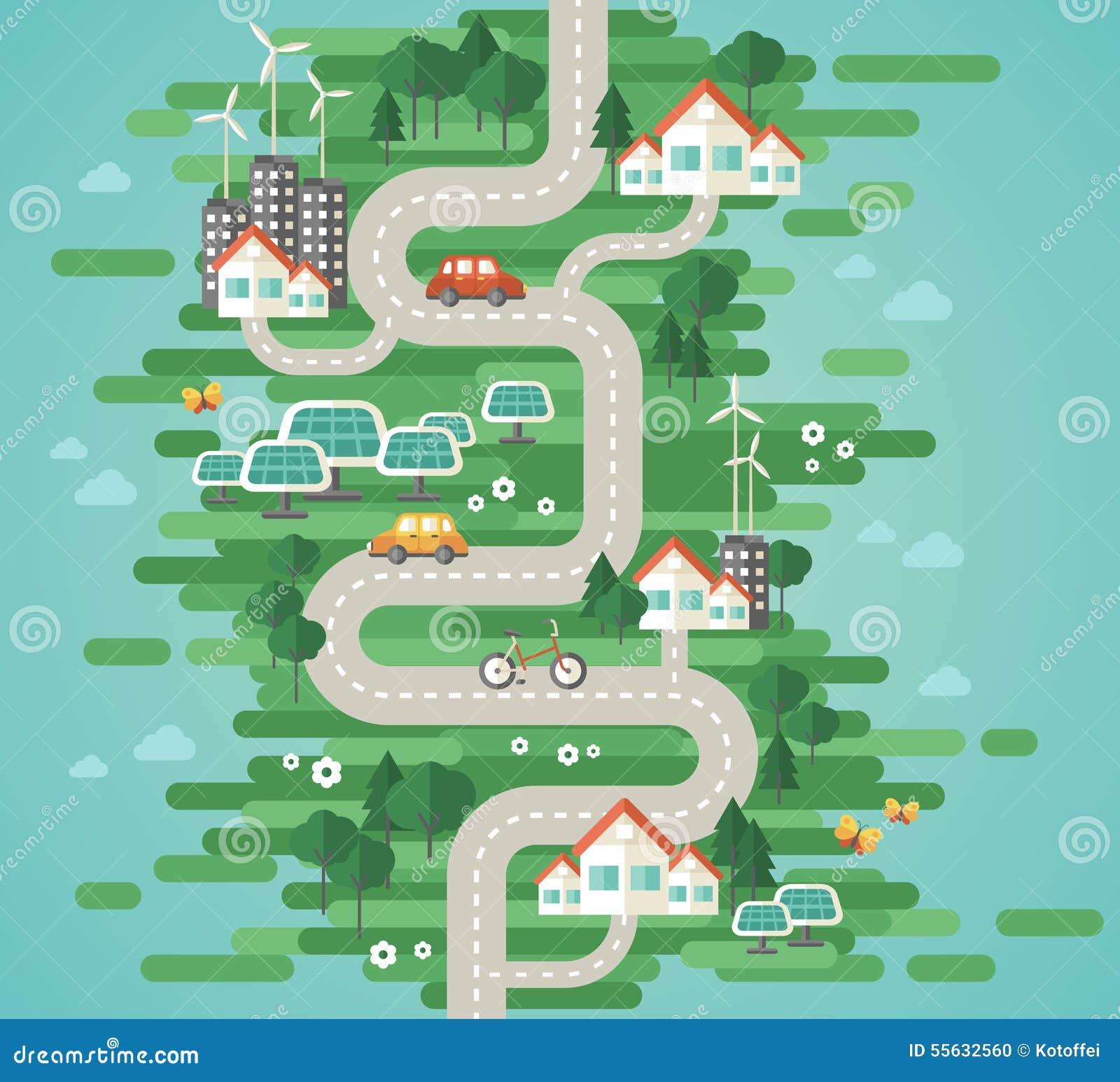 Het vlakke Concept van de Ontwerp Vectorillustratie Ecologie