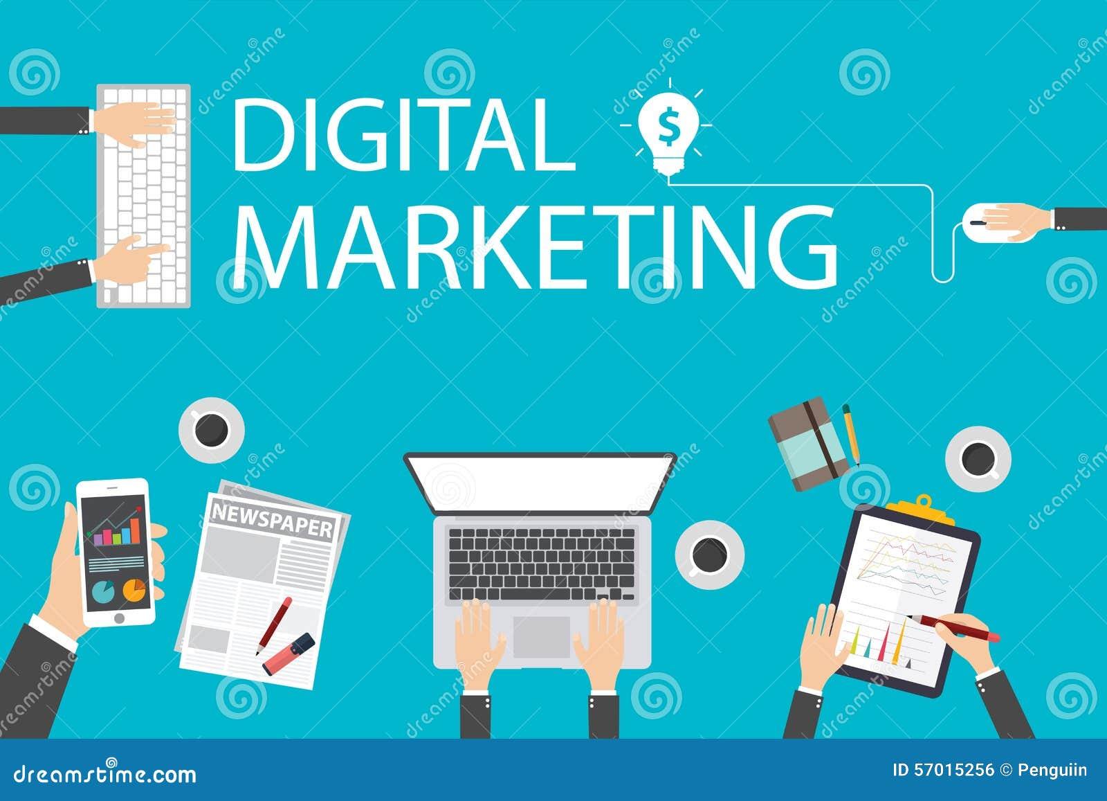Het vlakke concept van de ontwerpillustratie voor digitale marketing Concept voor Webbanner