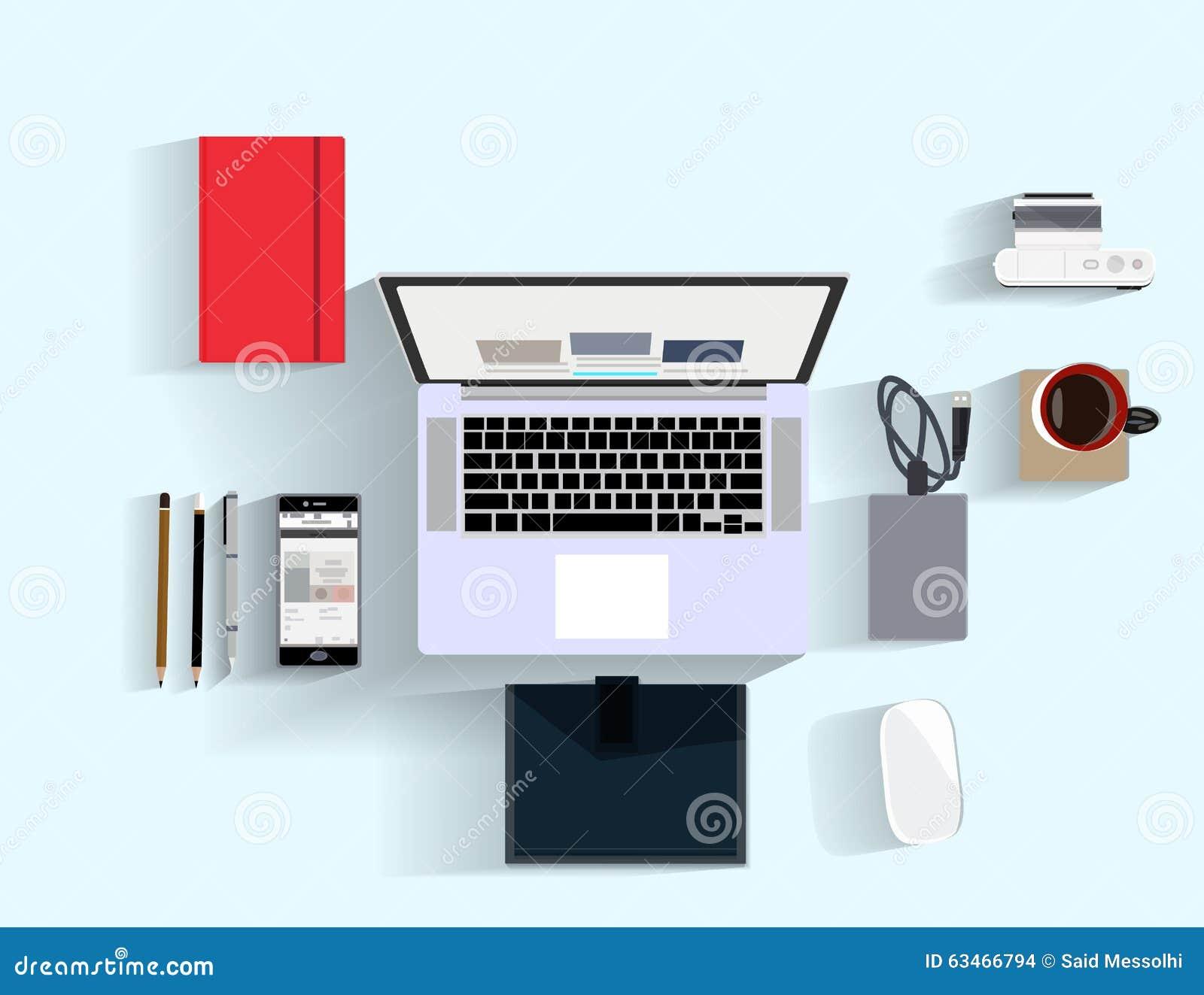 Het vlakke concept van de ontwerpillustratie voor werkende plaats op kantoor, werkruimte