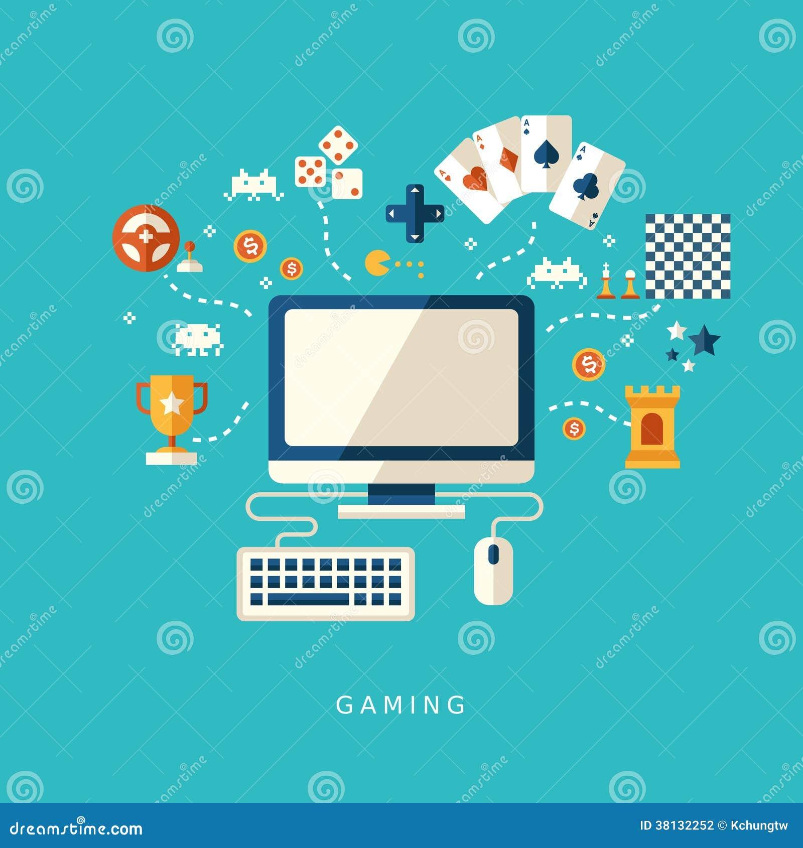 Het vlakke concept van ontwerppictogrammen computerspelen