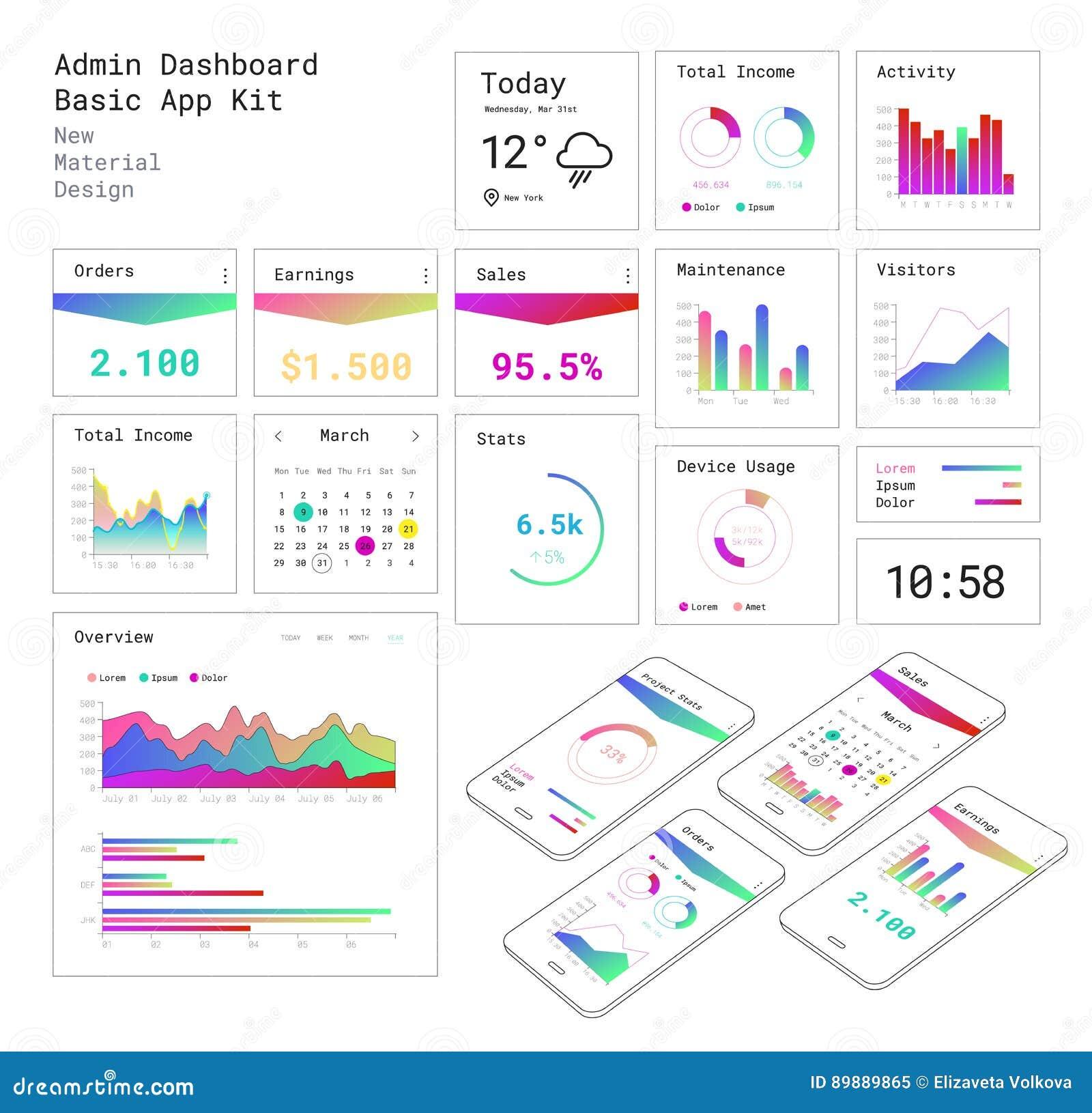 Het vlakke Dashboard UI mobiele app van ontwerp ontvankelijke Admin