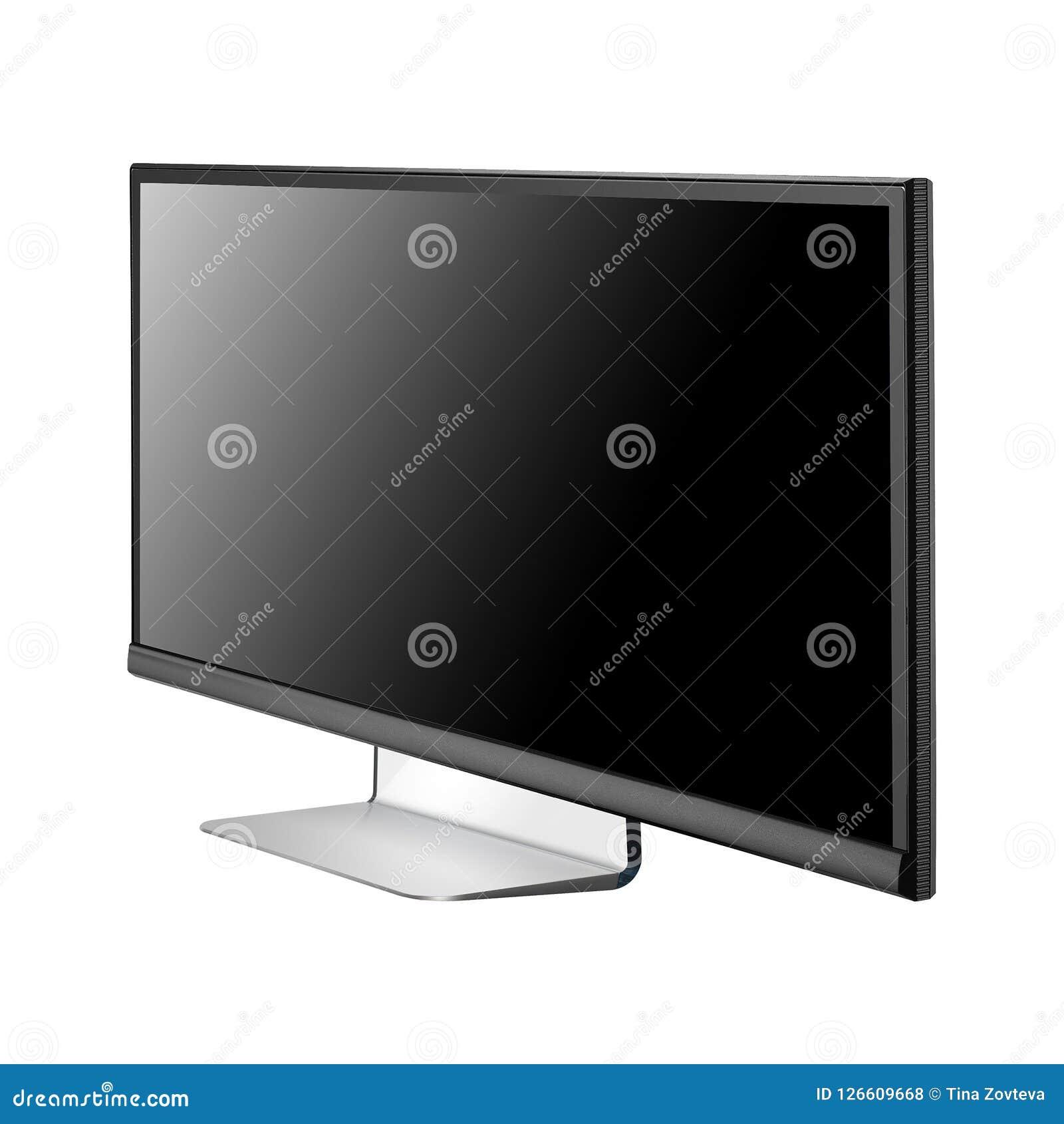 Het vlakke die scherm van TV op wit wordt geïsoleerd