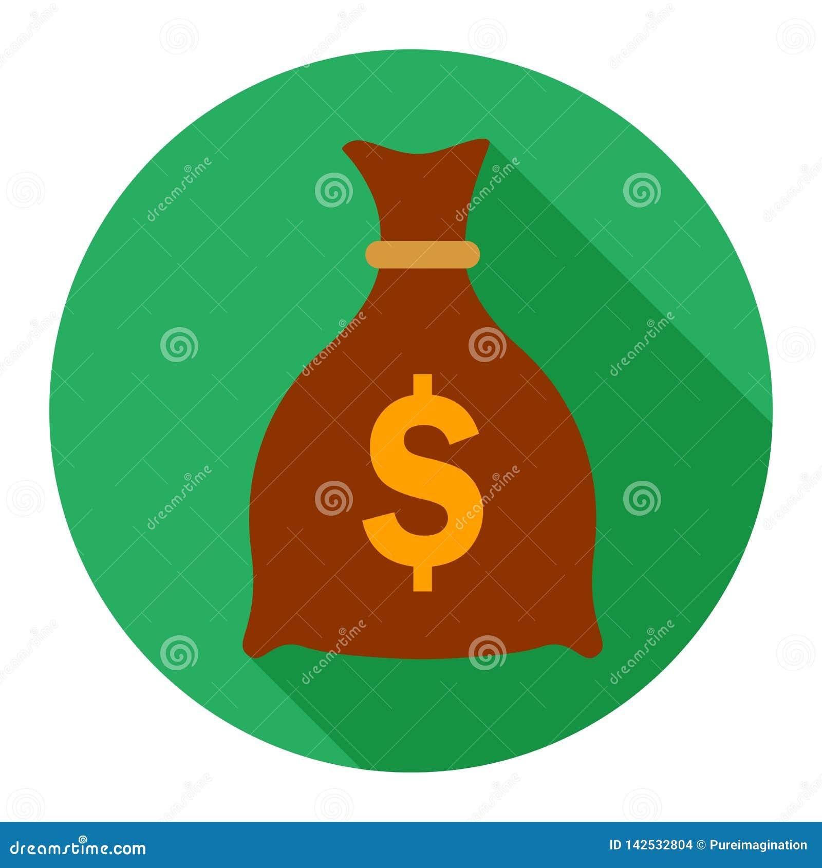 Het vlakke pictogram van de geldzak op groene achtergrond