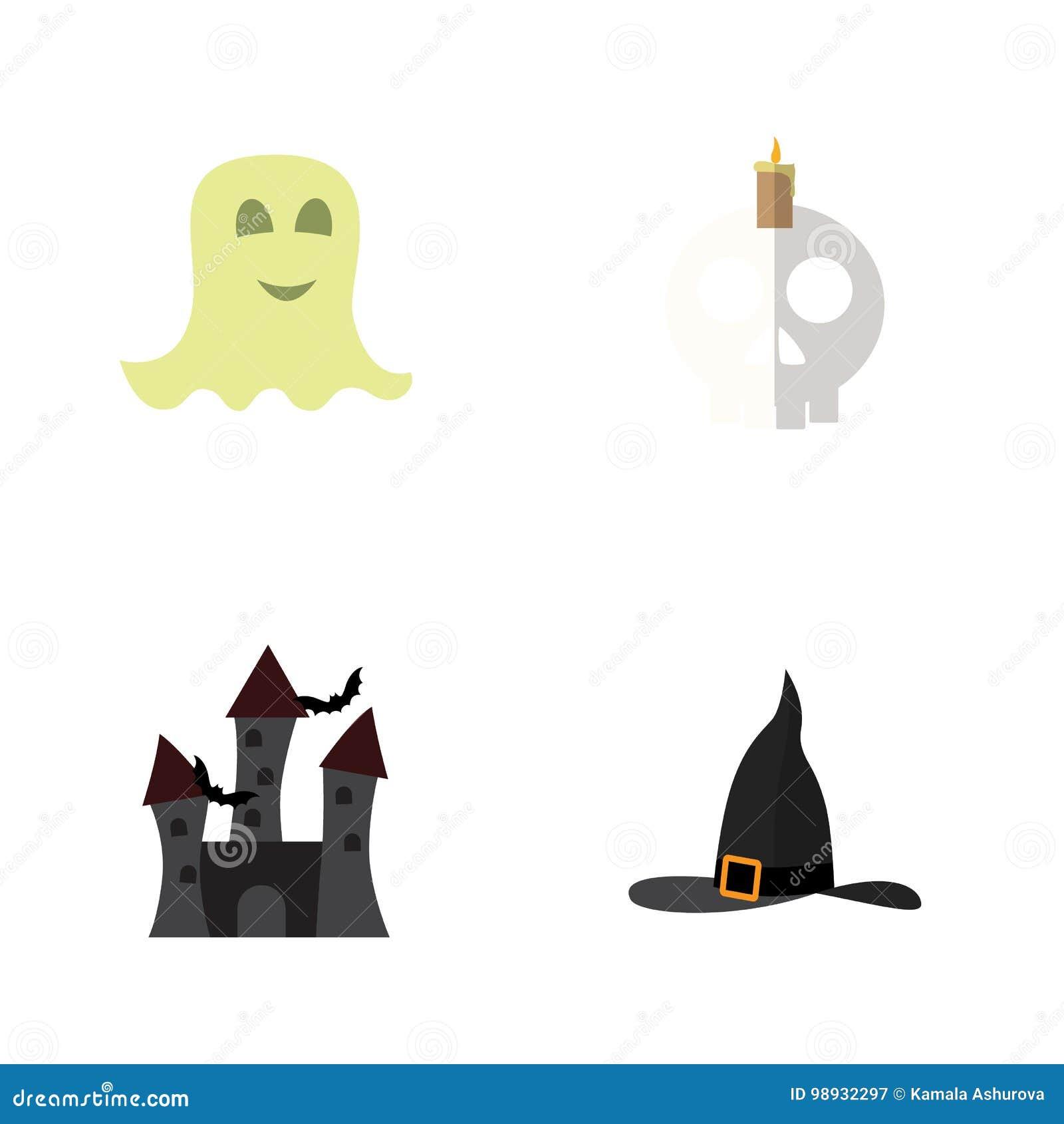 Het vlakke Pictogram viert Reeks Schedel, Geest, Heks GLB en Andere Vectorvoorwerpen Omvat ook Halloween, Geest, Kaars