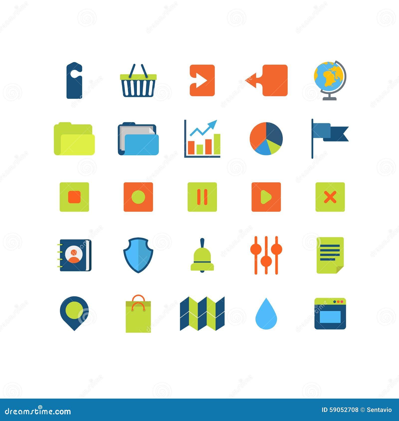 Het vlakke vector mobiele Webapp pak van het interfacepictogram: upload download