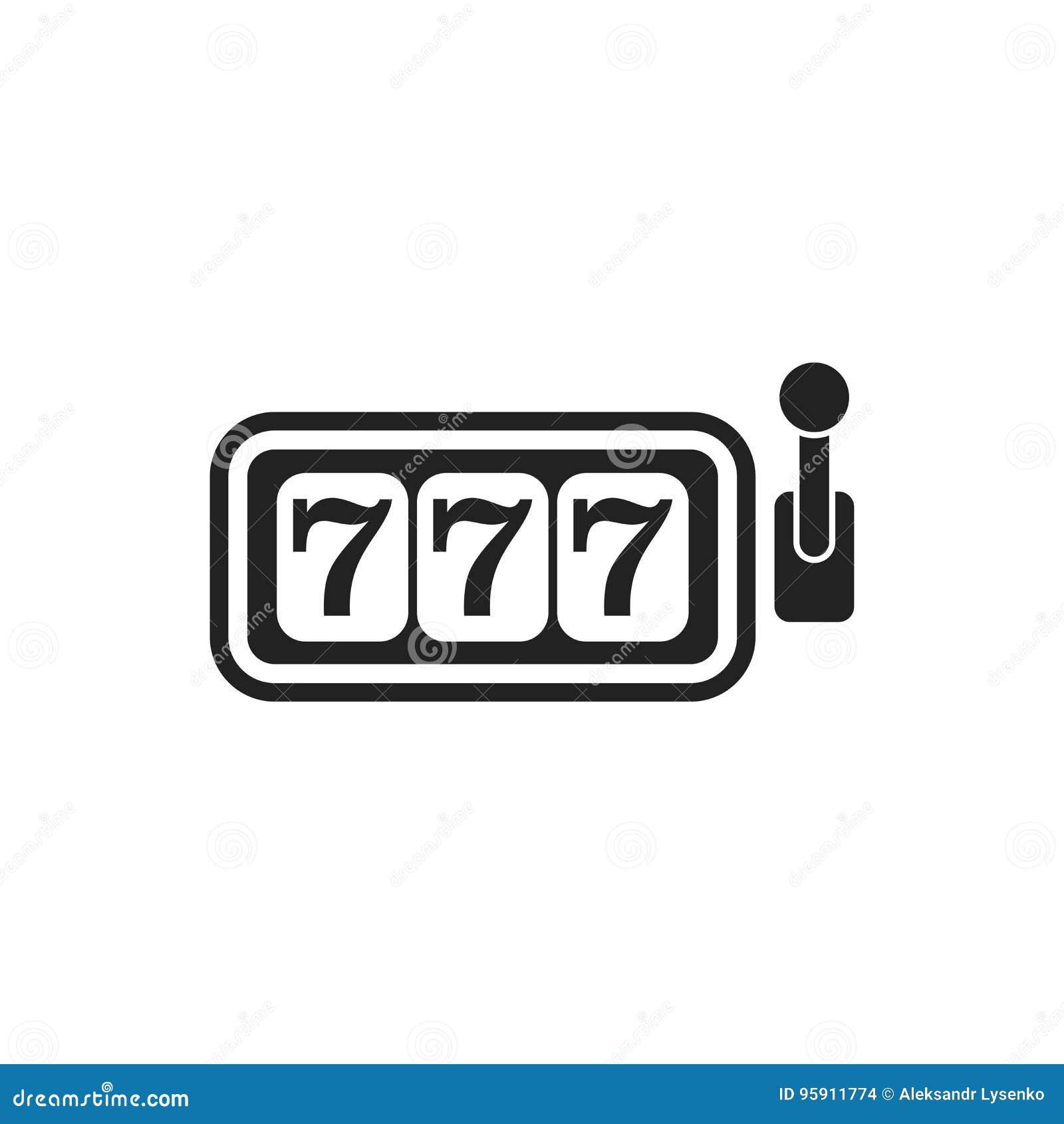 Het vlakke vectorpictogram van de casinogokautomaat 777 potillustratie p