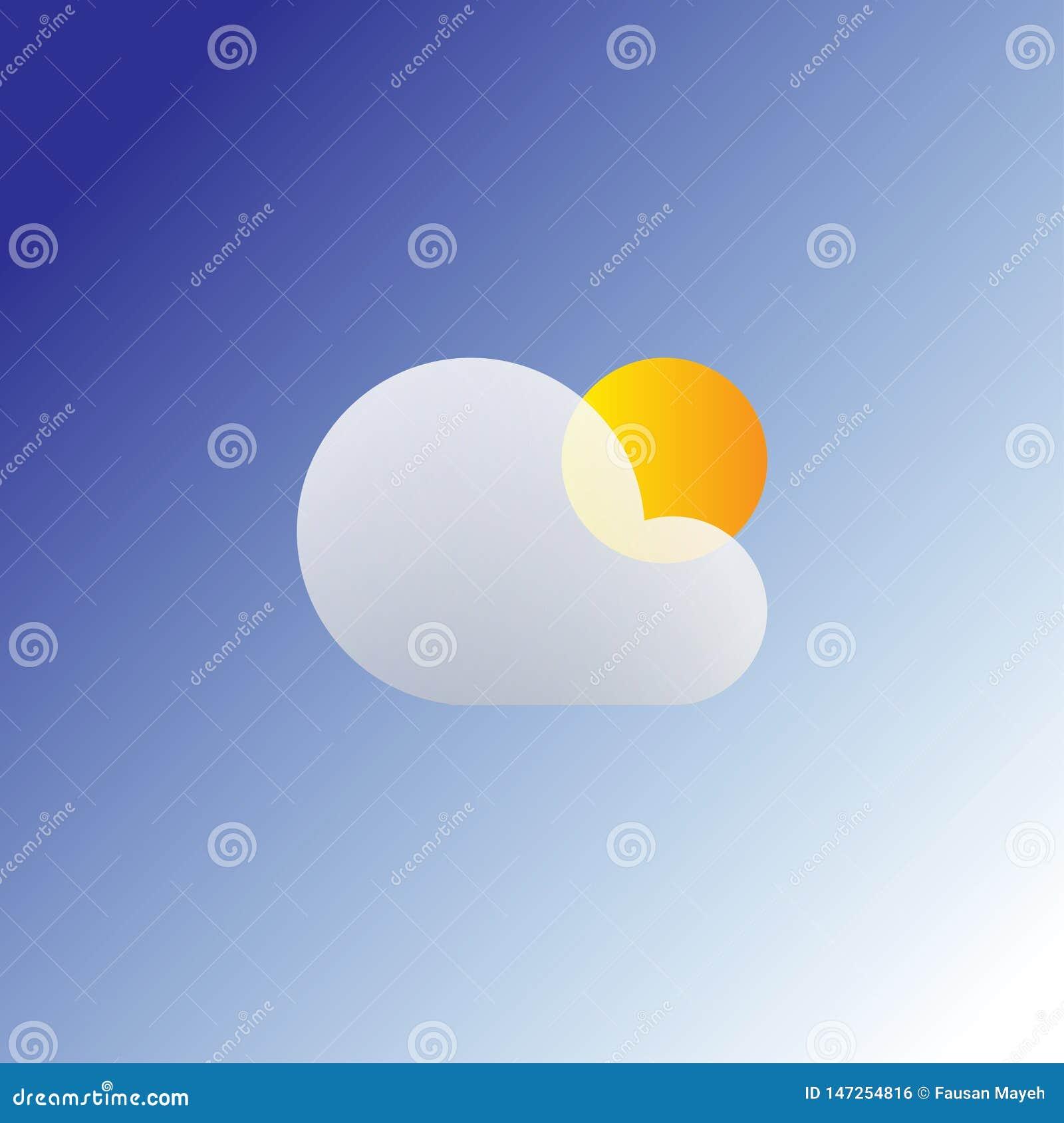 Het vlakke zon en wolkenpictogram van het weerweb Geïsoleerd de zomerpictogram op een blauwe achtergrond