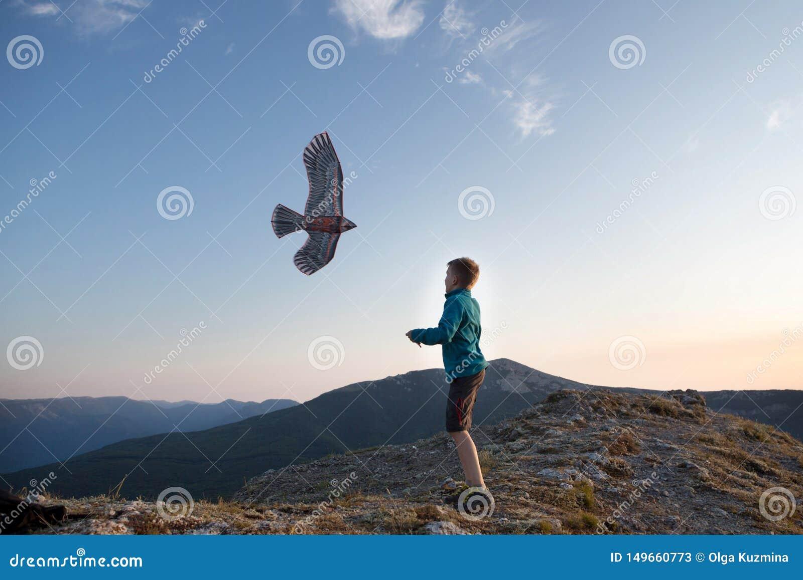 Het vliegen van de vlieger De jongen lanceert een vlieger Mooie Zonsondergang Bergen, overzees, landschap Zonnige de zomerdag