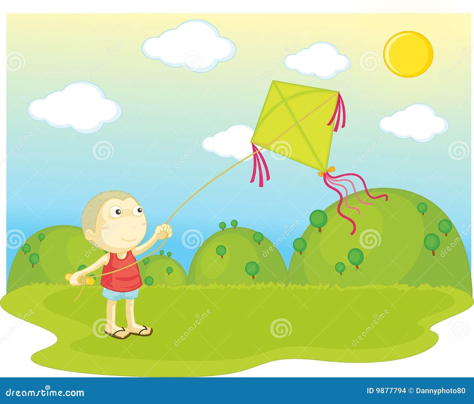 Het vliegen van een vlieger
