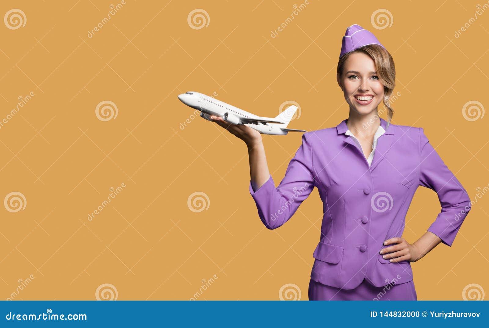 Het vliegtuig van de stewardessholding ter beschikking
