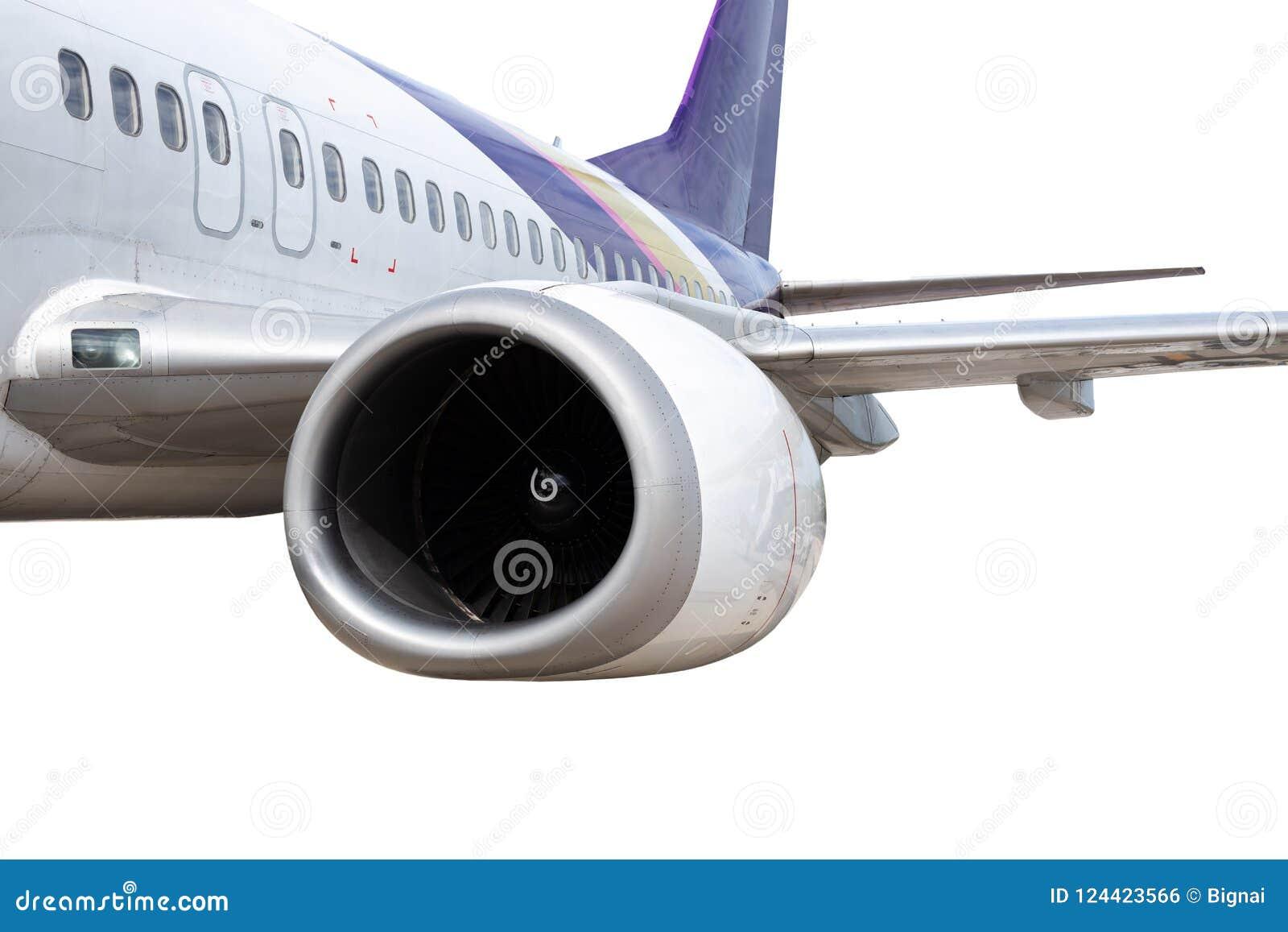 Het Vliegtuigmotor van Boeing 737-400 op witte achtergrond wordt geïsoleerd die