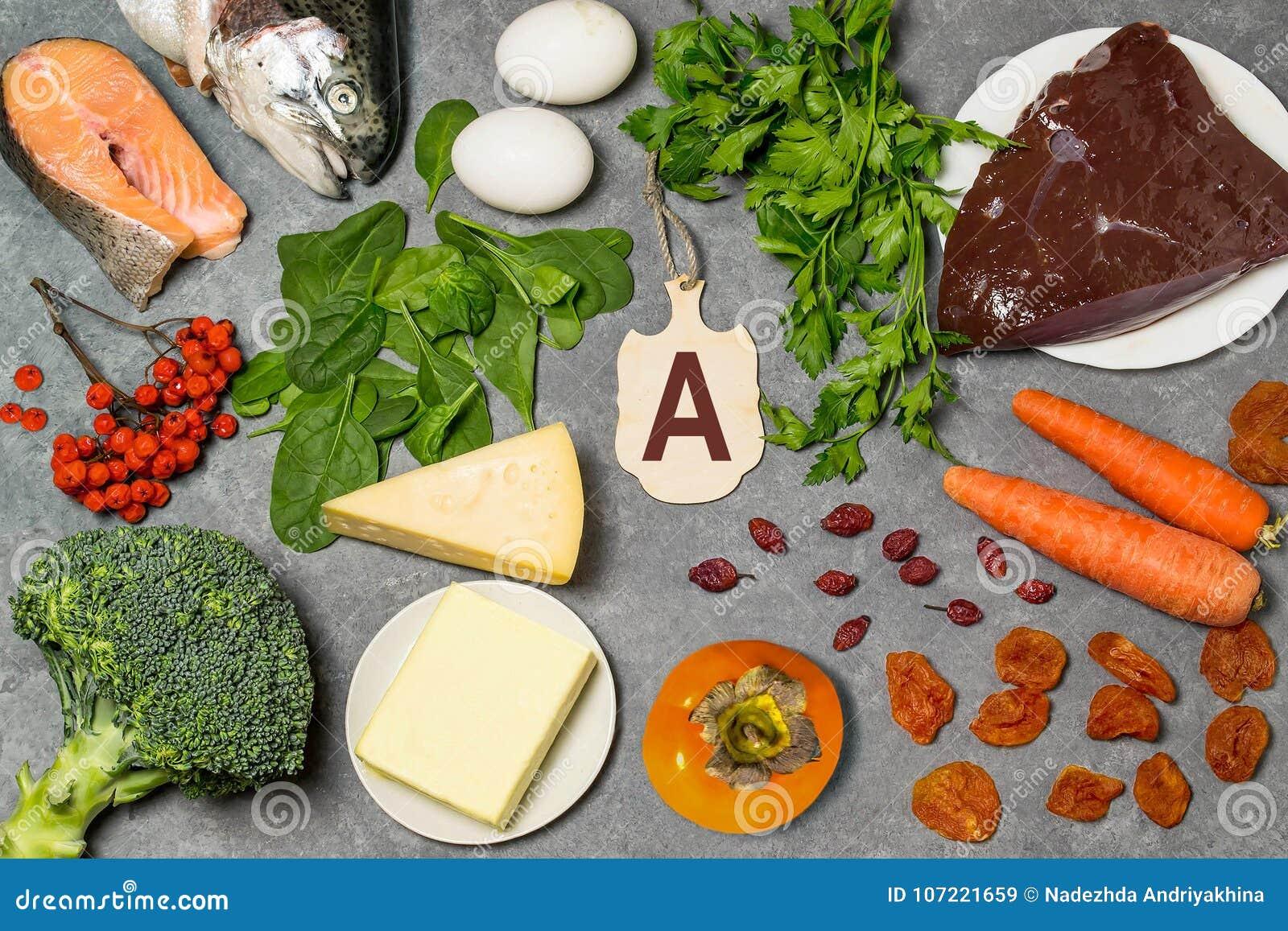 Het voedsel is bron van vitamine A