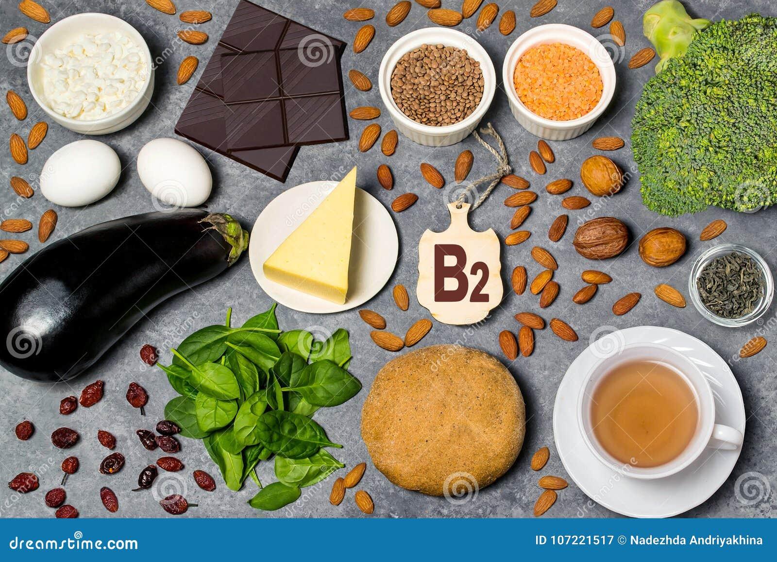 Het voedsel is bron van vitamine B2