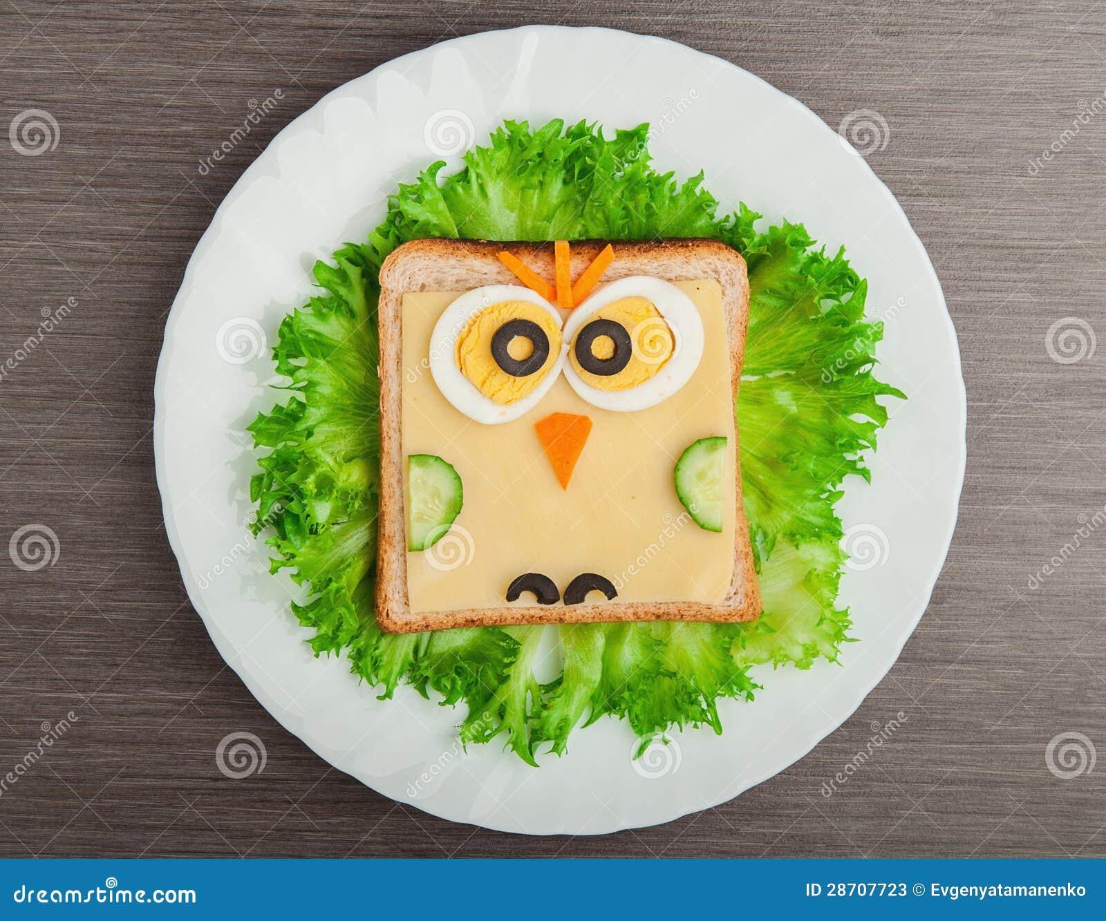 Het voedsel van het ontwerp creatieve sandwich voor kind met beeld weinig ow stock foto 39 s - Ontwerp voorgerecht ...