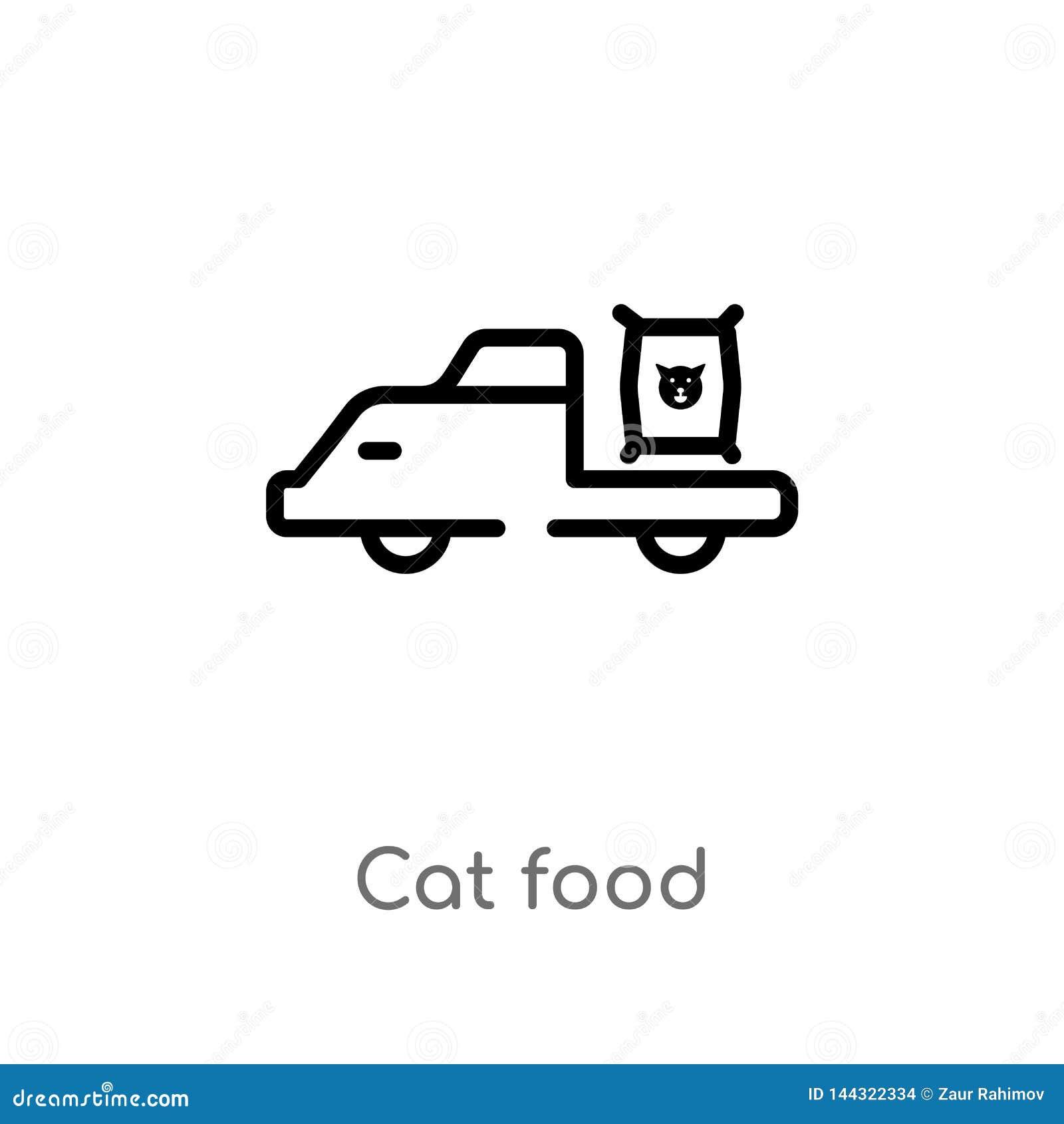Het voedsel vectorpictogram van de overzichtskat de geïsoleerde zwarte eenvoudige illustratie van het lijnelement van vervoerconc
