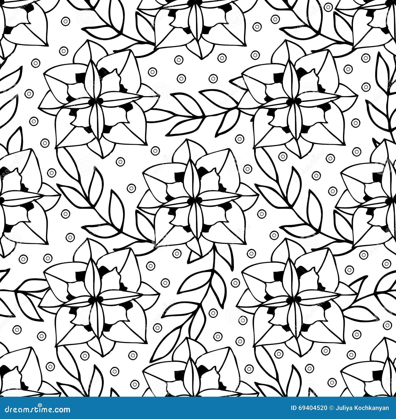 Het volwassen het kleuren ontwerp van de boekpagina met bloemen naadloos patroon vector - Volwassen kamer kleuren ...
