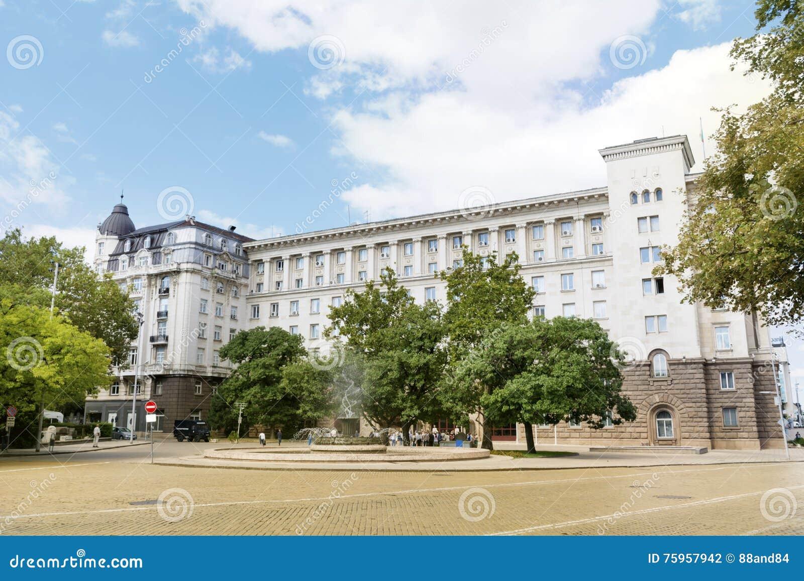 Het voorzitterschapsgebouw in centraal Sofia, Bulgarije