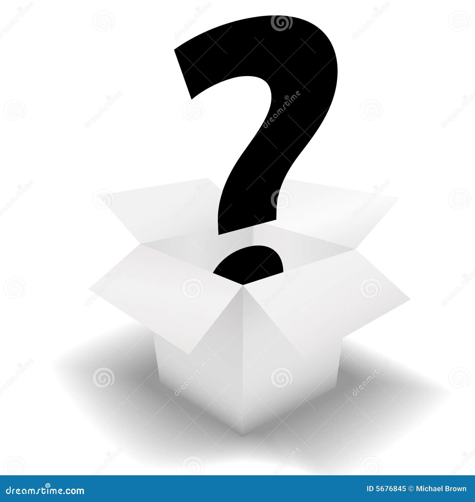 Het vraagteken van de Doos van de geheimzinnigheid in wit karton