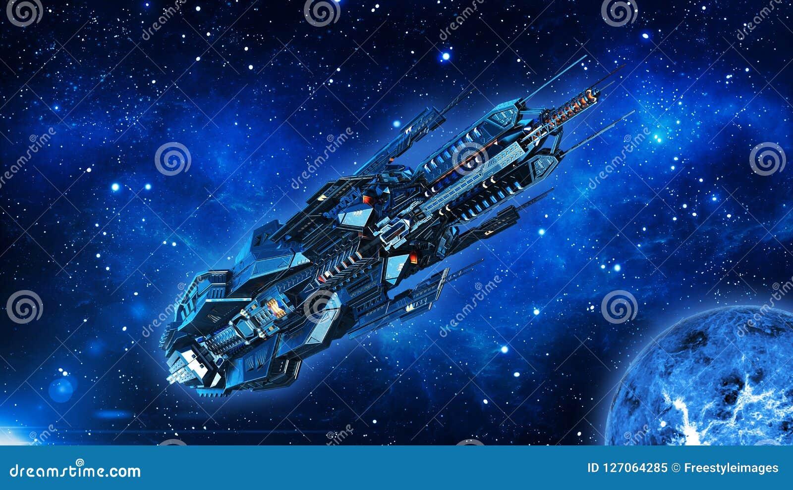 Het vreemde moederschip, het ruimteschip in diepe ruimte, het UFOruimtevaartuig in het Heelal met planeet vliegen en de sterren,