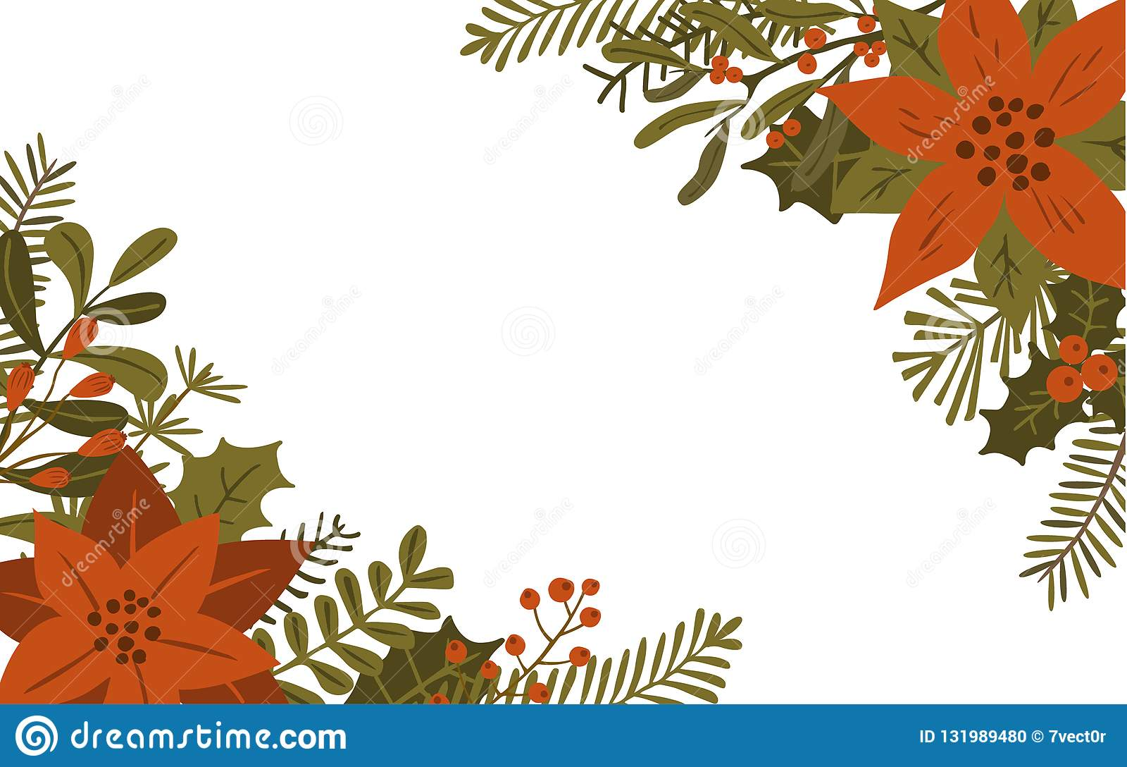 Het vrolijke gebladerte van de Kerstmiswinter bloeit bladerentakken en rode bessen geïsoleerde vectorillustratieachtergrond