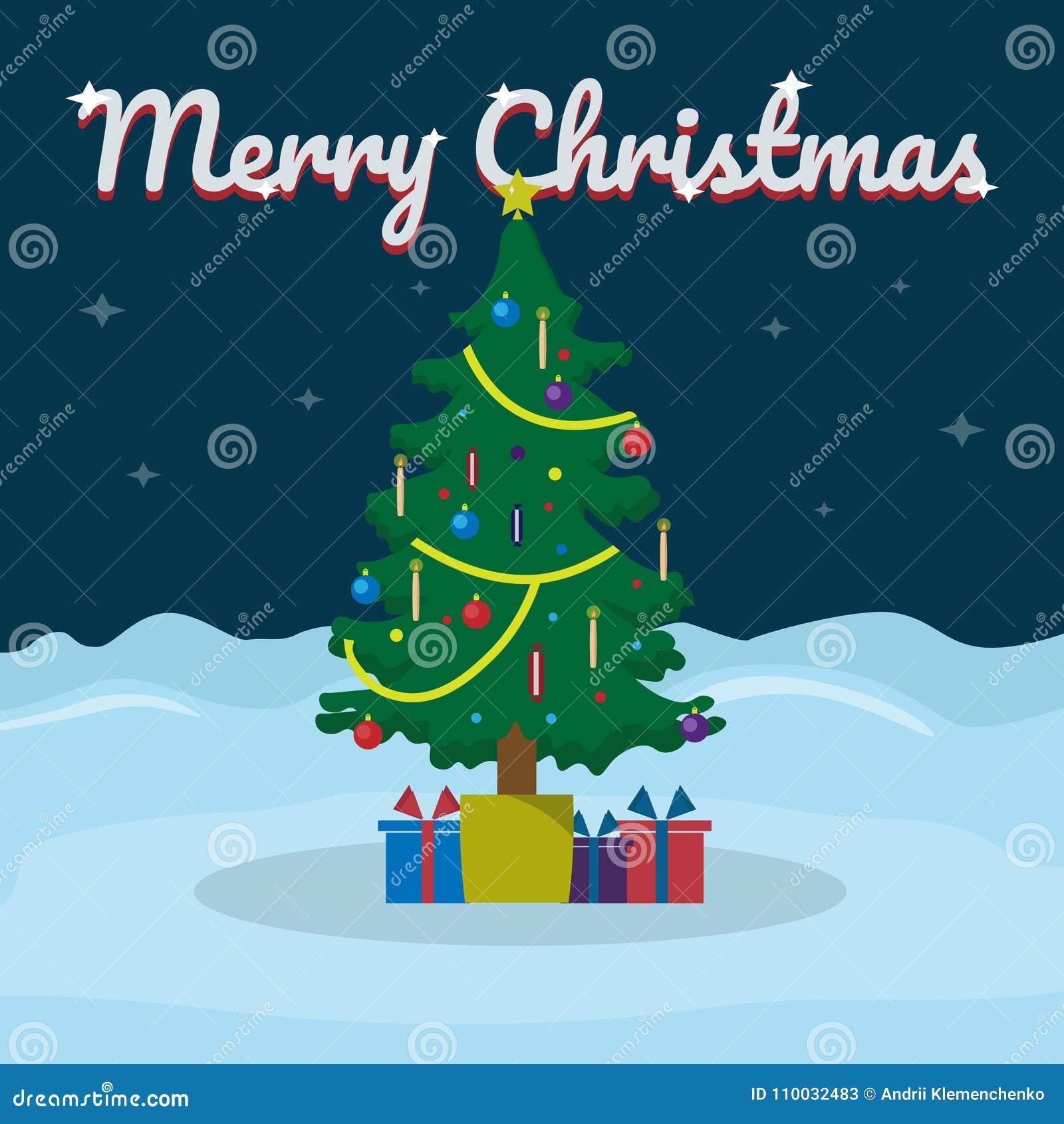 Het vrolijke Kerstmis van letters voorzien op sneeuw de winterachtergrond met Kerstboom Vectorillustratie voor groetkaart