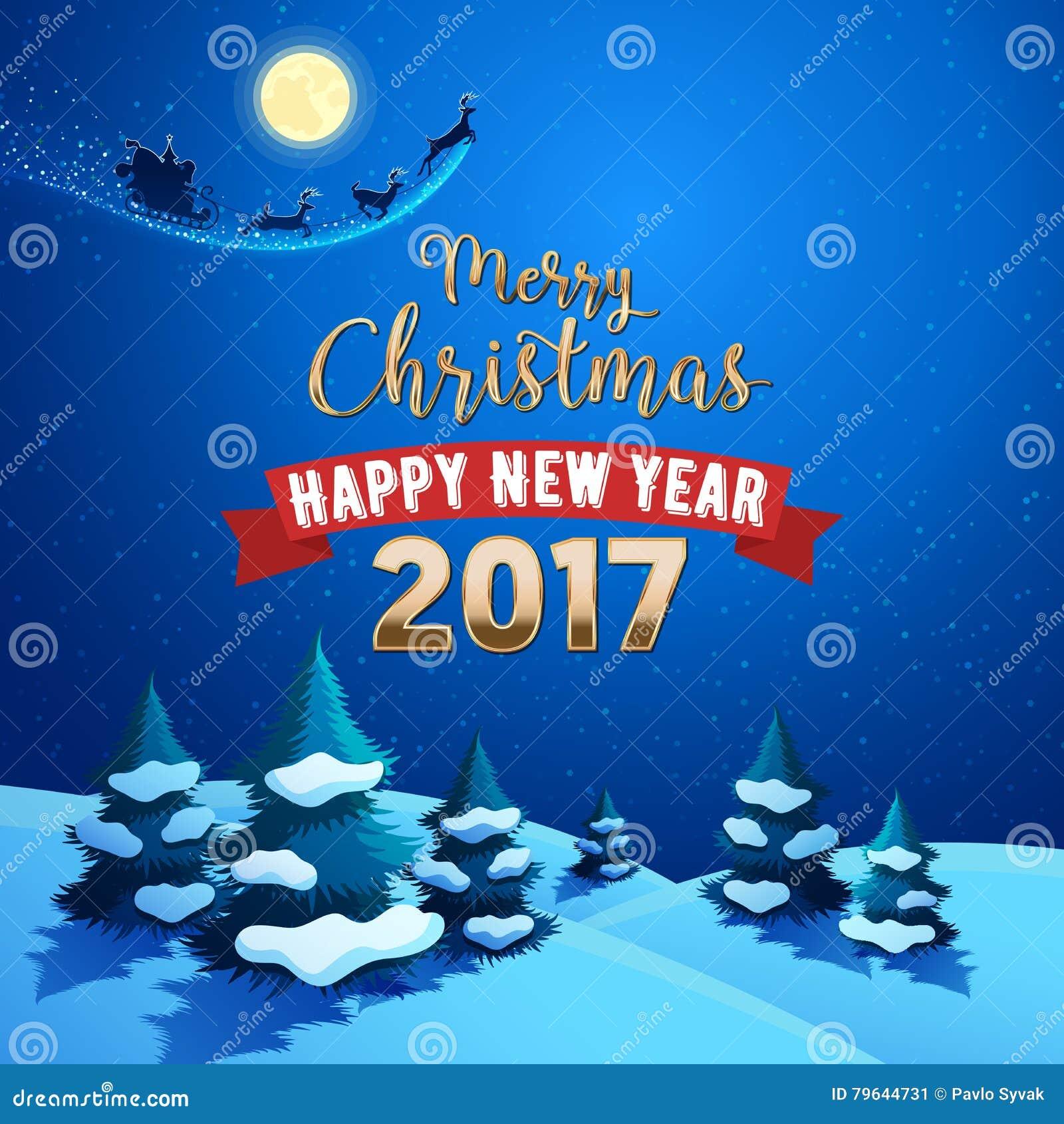 Het vrolijke Landschap van de Kerstmisaard met Santa Claus Sleigh en Rendieren op de Maanbeschenen Hemel De groetkaart van de de