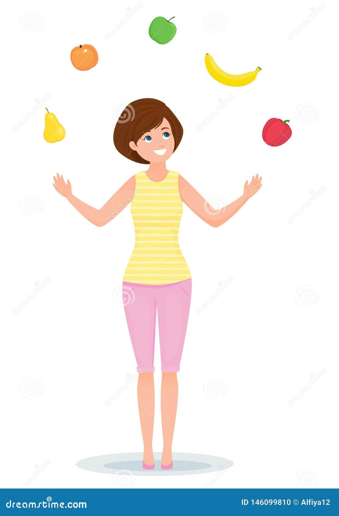 Het vrolijke meisje jongleert met met vruchten en groenten Gezonde Levensstijl