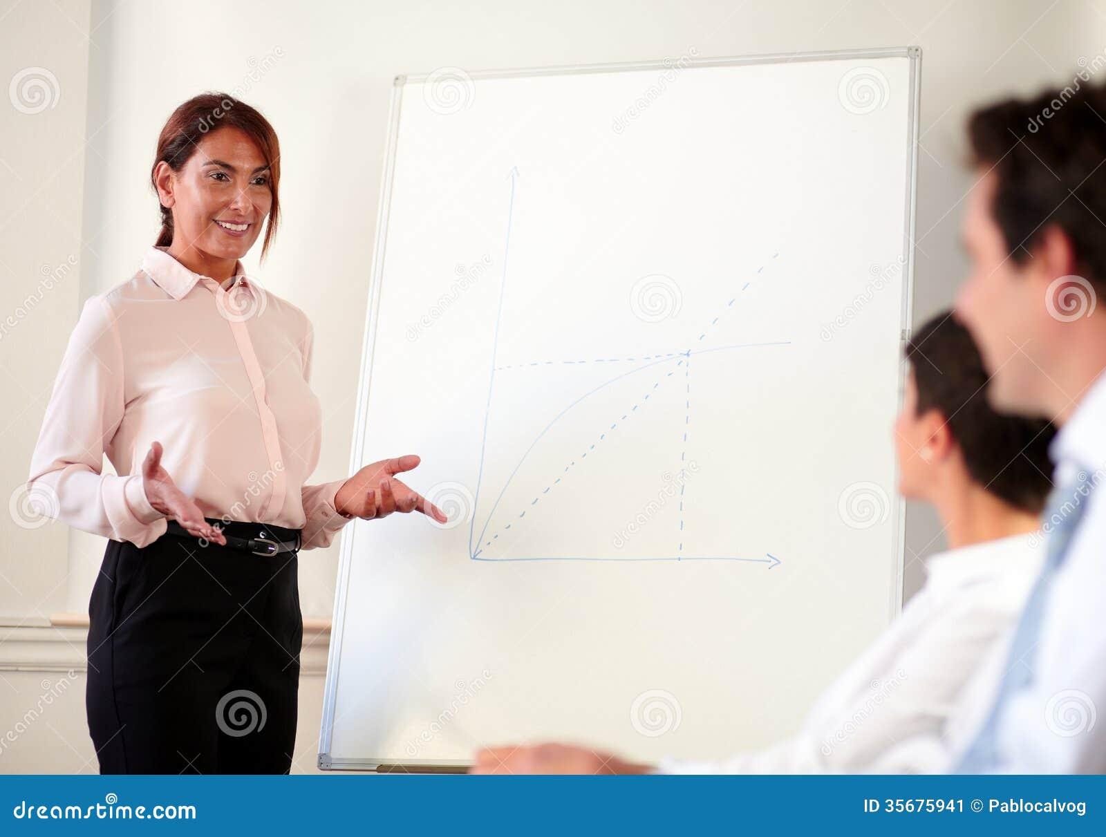 Het vrouwelijke uitvoerende werken aan haar presentatie