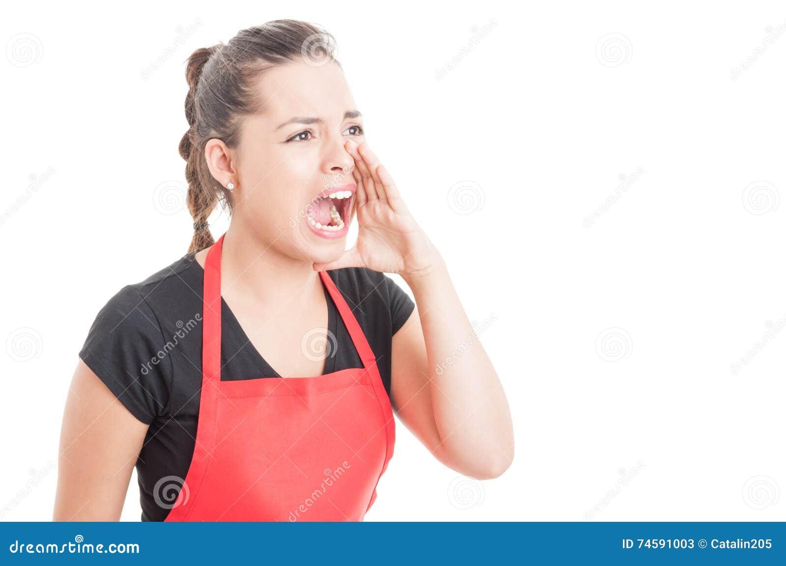 Het vrouwelijke werknemer schreeuwen uit luid bij somebody
