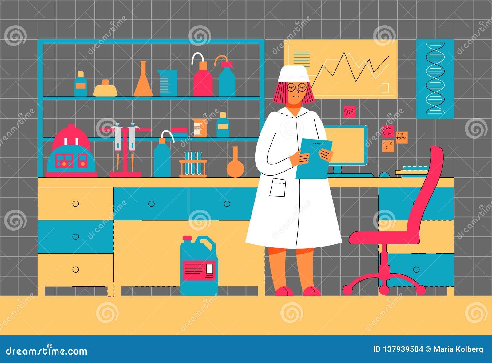 Het vrouwenwerk in een laboratorium Wetenschappelijk experiment Het wetenschappelijke werk