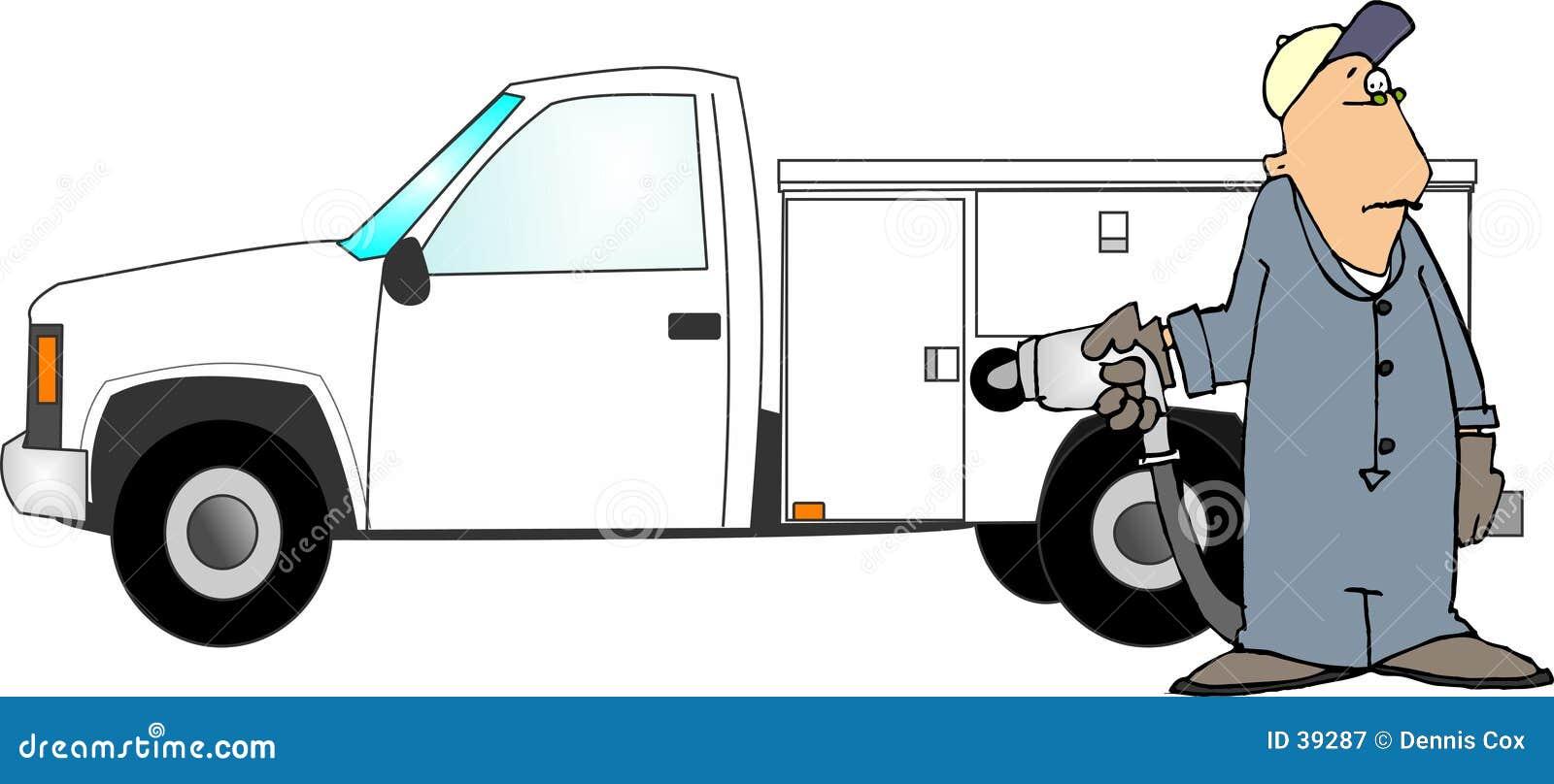 Het vullen van een vrachtwagen met gas